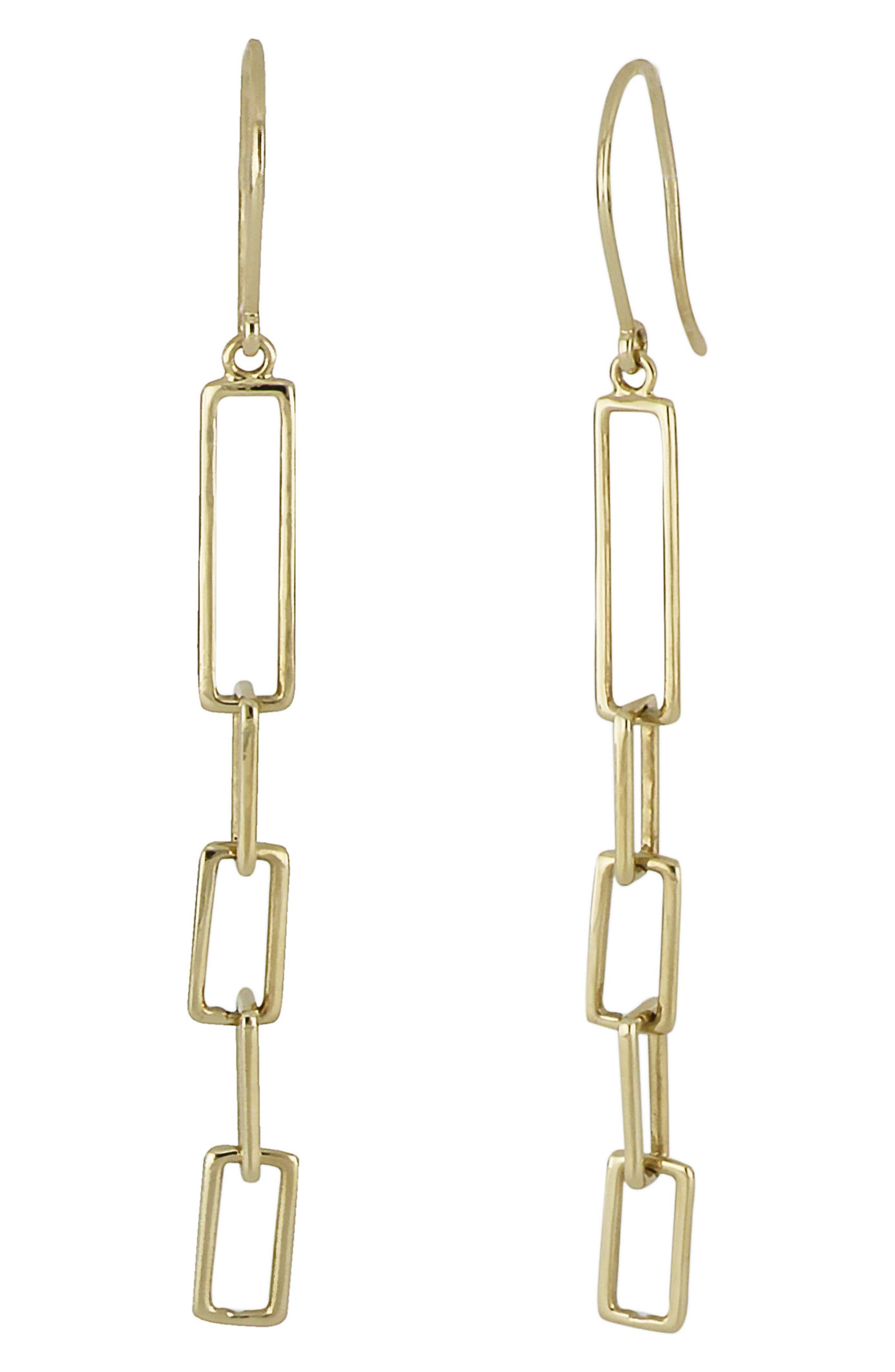 Linear Link Drop Earrings,                         Main,                         color, Yellow Gold