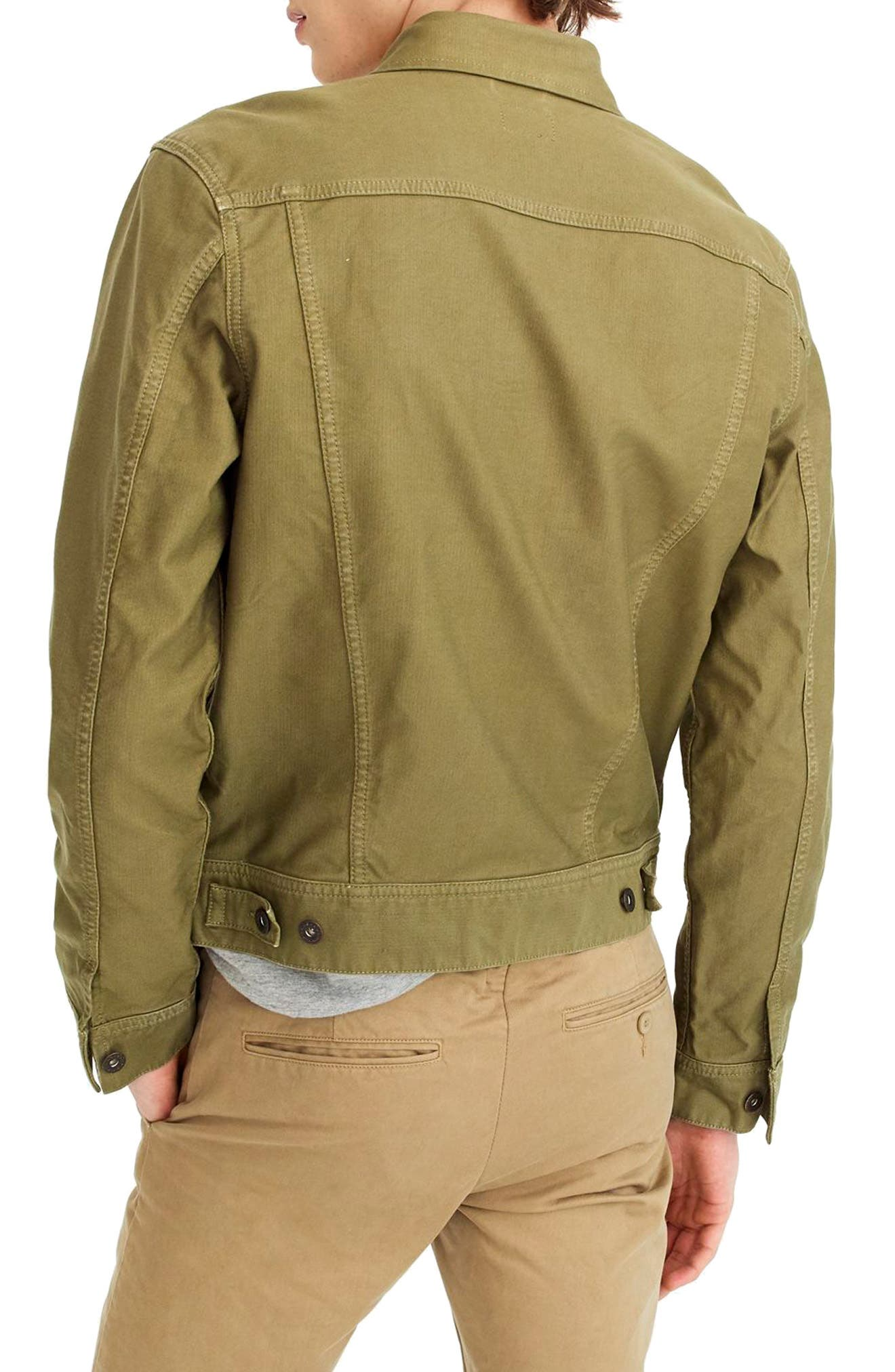 Garment Dyed Bedford Cord Trucker Jacket,                             Alternate thumbnail 2, color,                             Sun Faded Olive