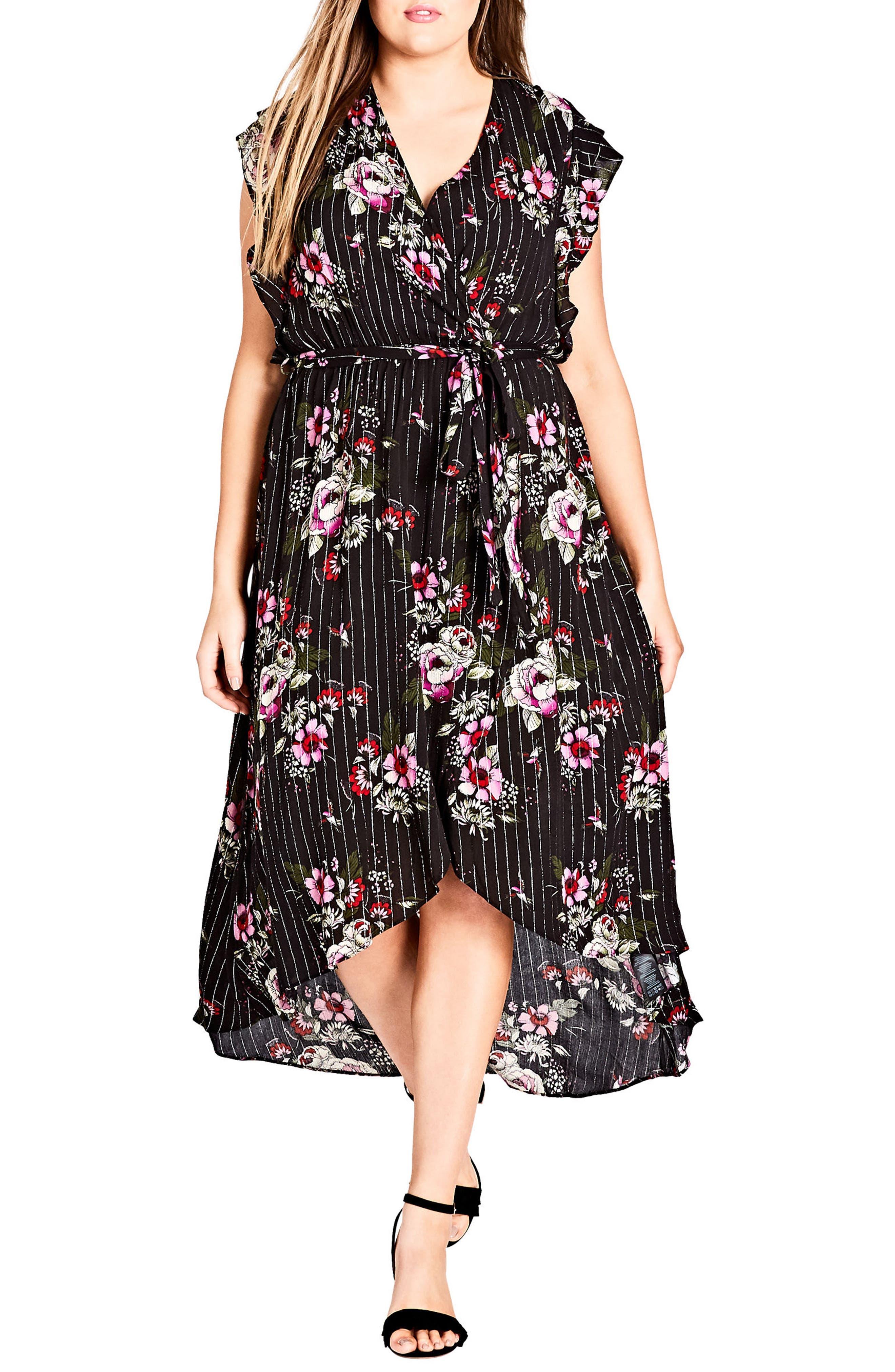 Lolita Floral High/Low Dress,                             Main thumbnail 1, color,                             Black