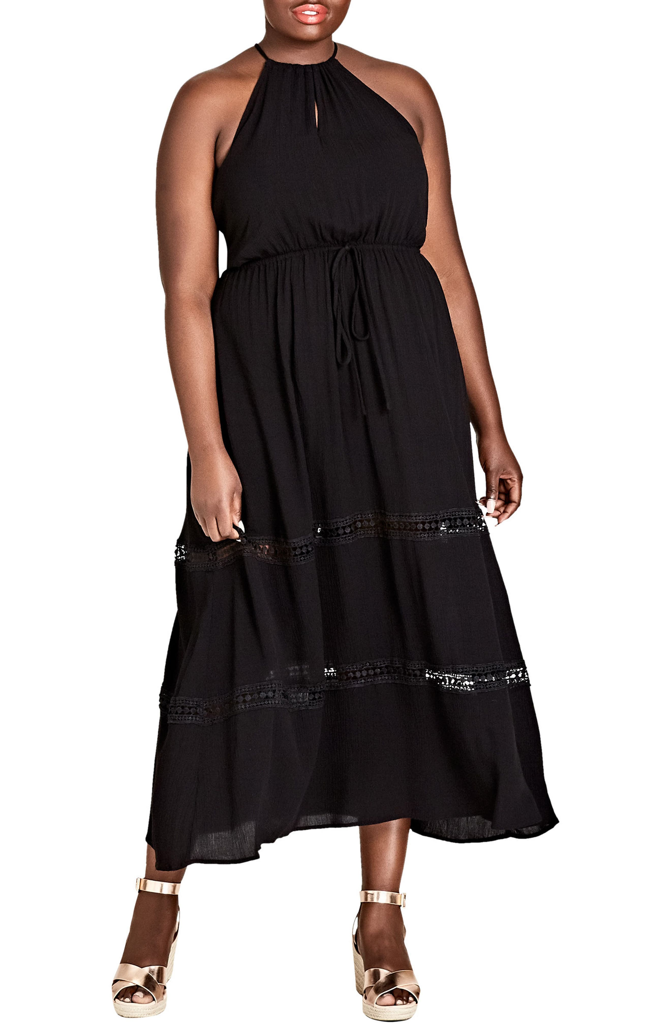 Summer Holiday Maxi Dress,                             Main thumbnail 1, color,                             Black