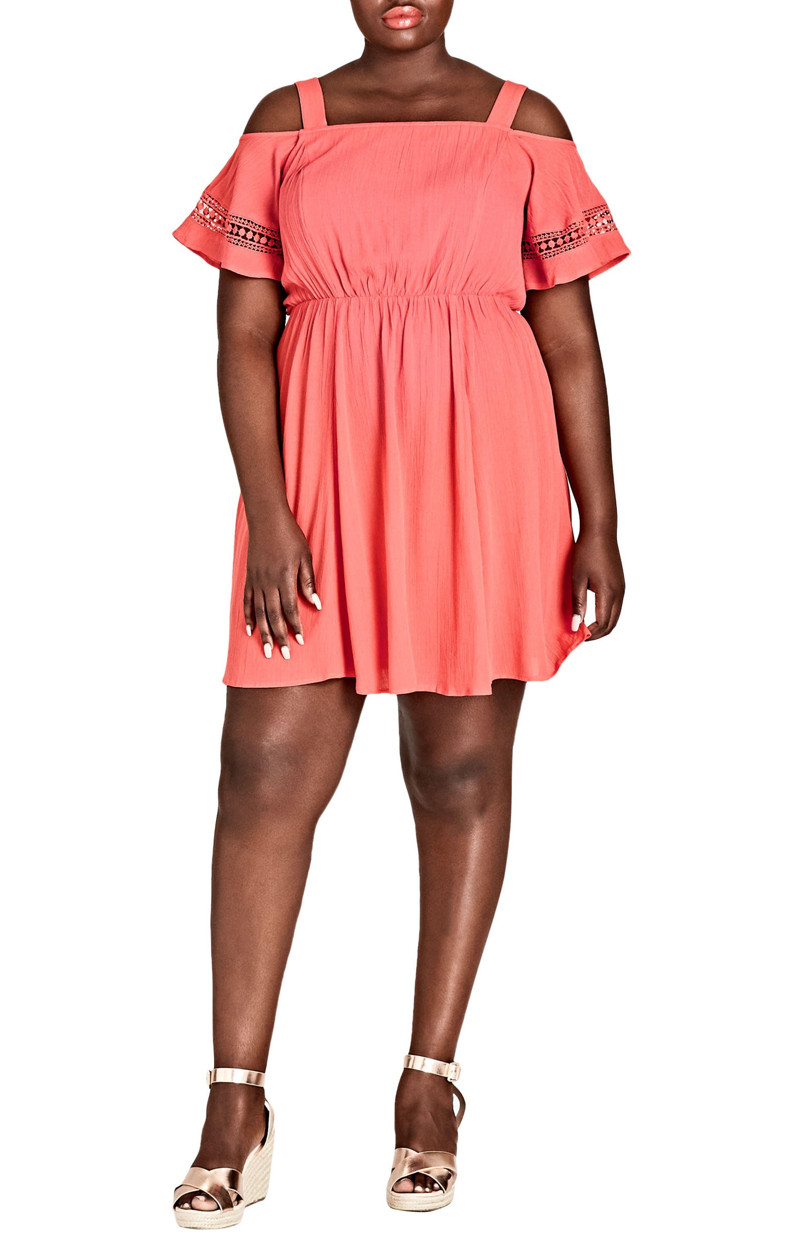Sweet Frills Dress,                         Main,                         color, Dark Coral