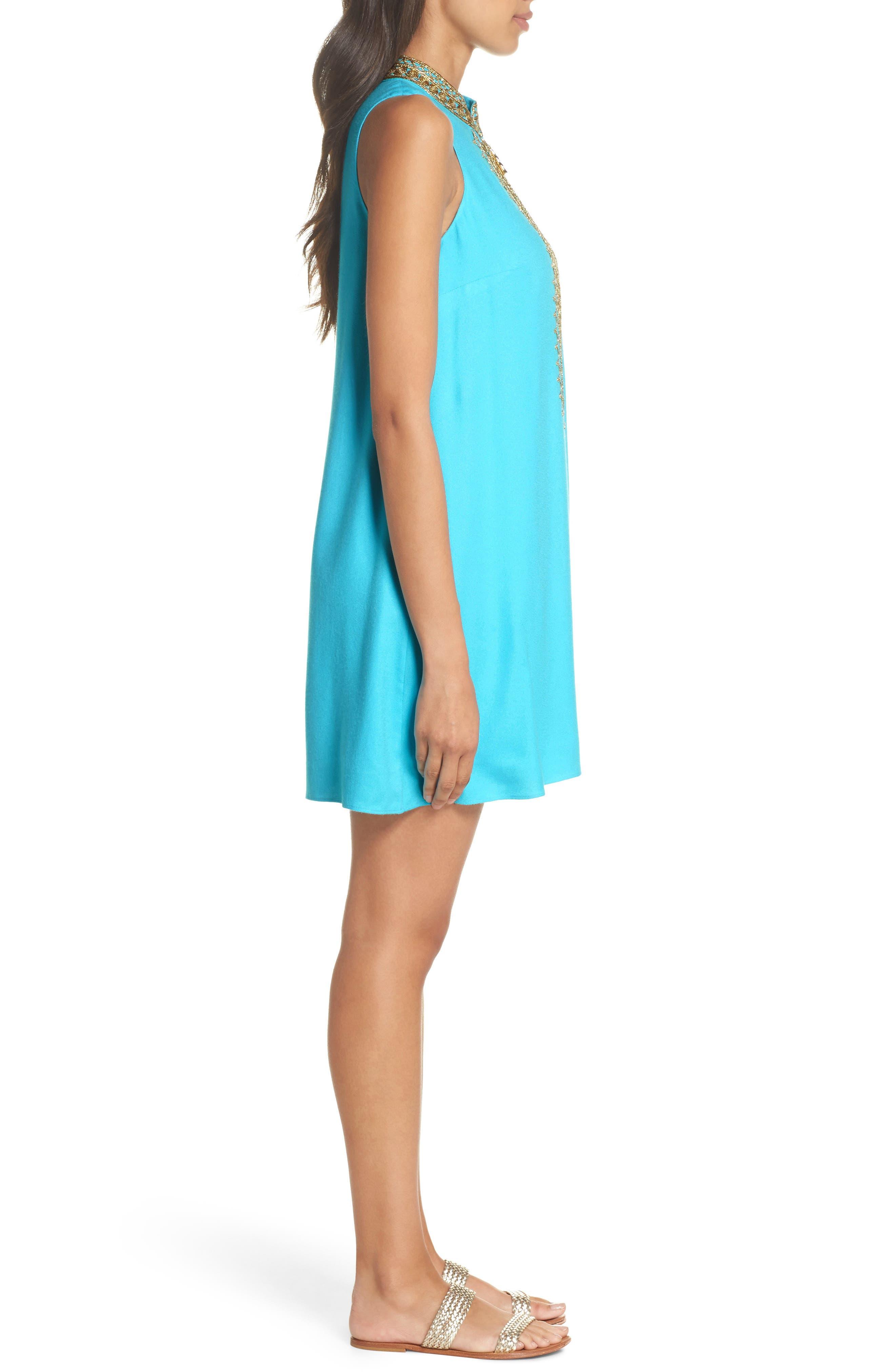 Jane Embroidered Shift Dress,                             Alternate thumbnail 3, color,                             Blue Ibiza