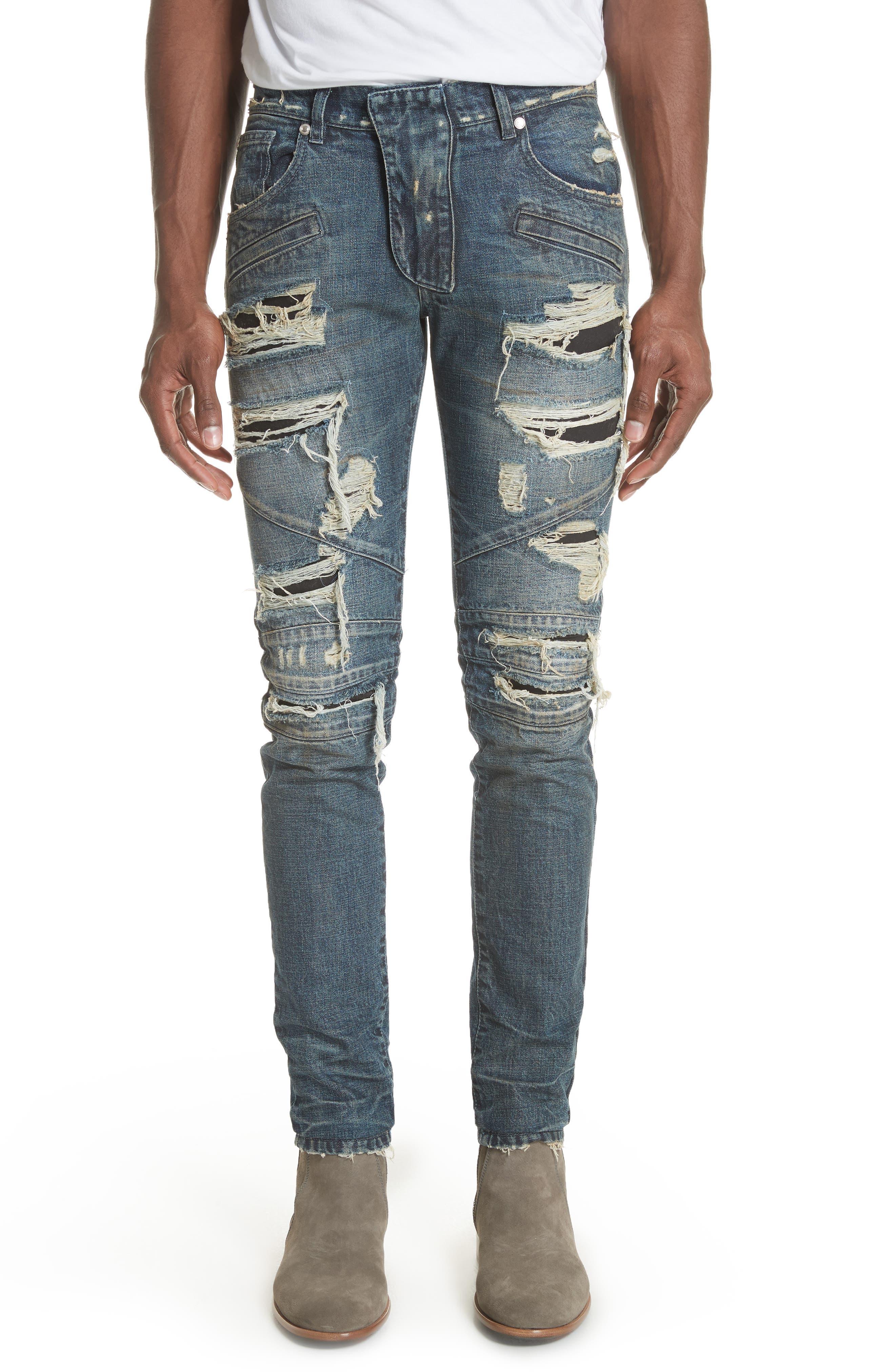Destroyed Biker Jeans,                         Main,                         color, Denim Blue