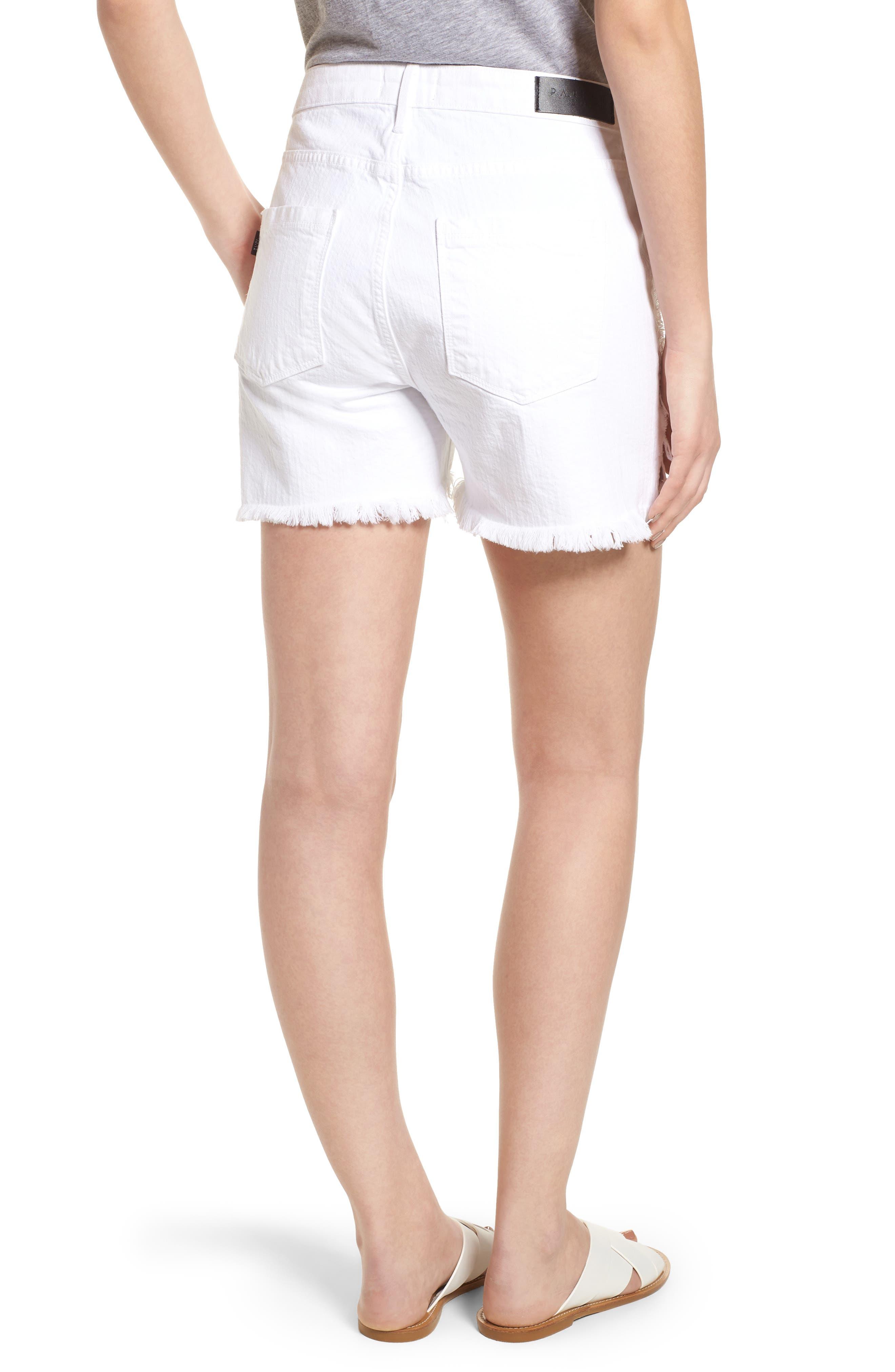 Step Hem Frayed Denim Shorts,                             Alternate thumbnail 2, color,                             Blanc