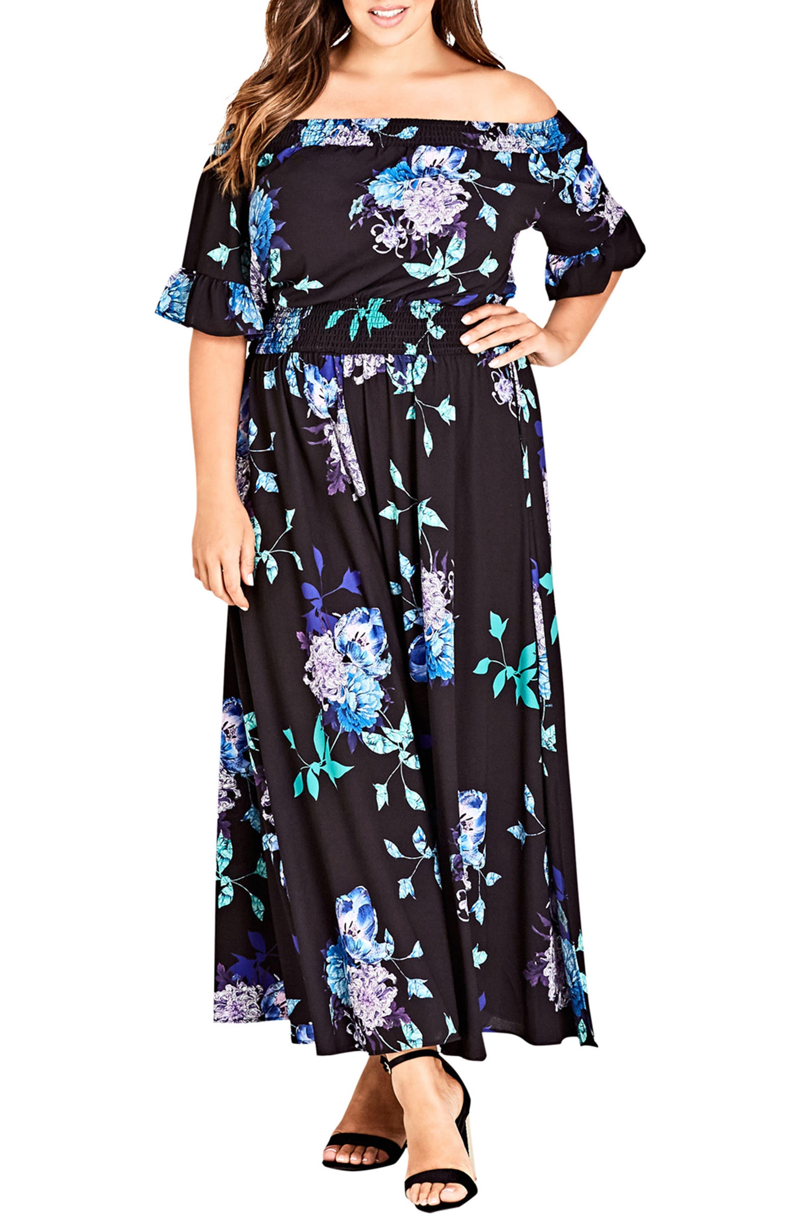Suzu Floral Maxi Off the Shoulder Dress,                             Main thumbnail 1, color,                             Suzu Floral