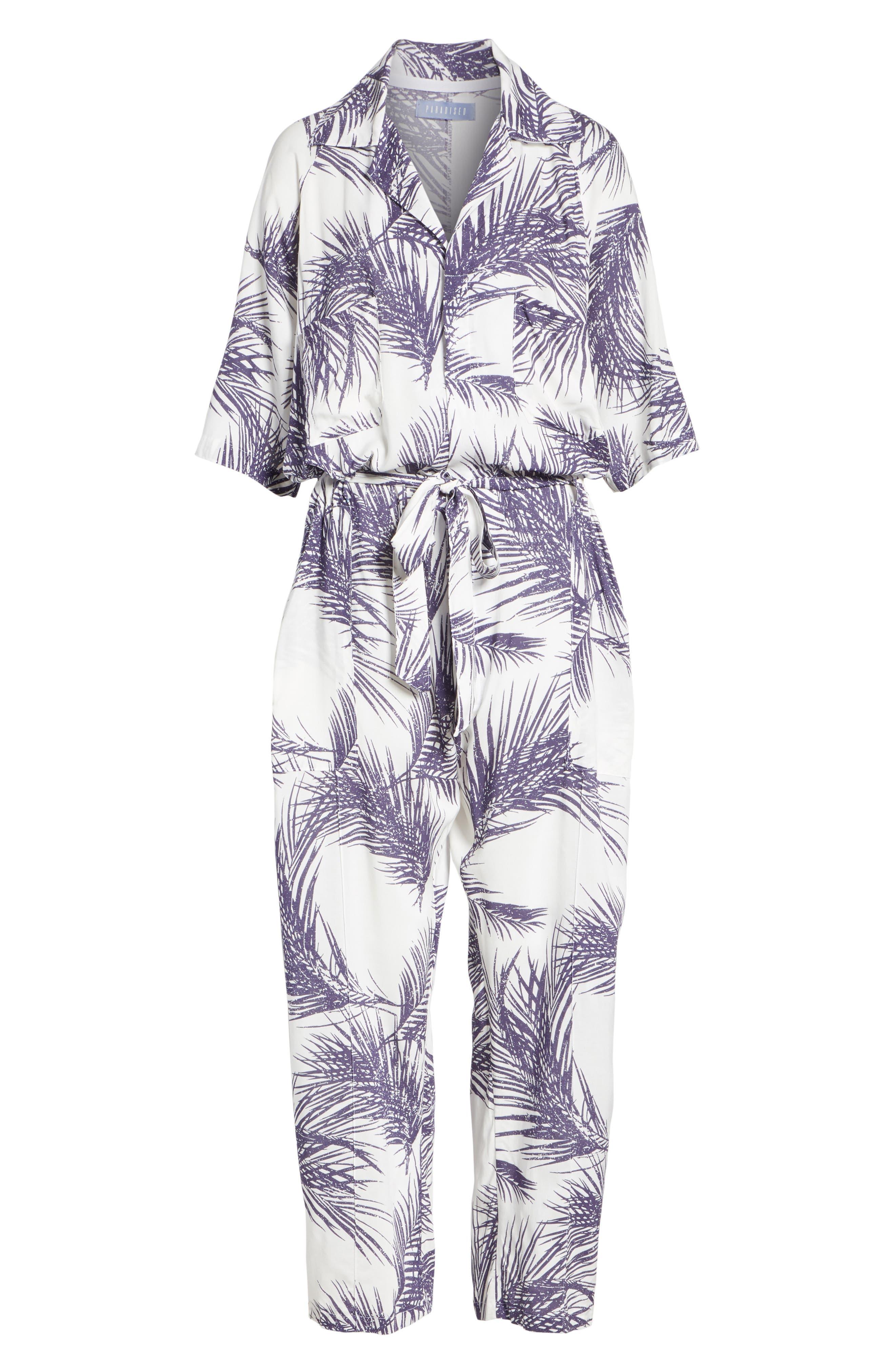 Apres Beach Print Jumpsuit,                             Alternate thumbnail 6, color,                             White/ Dark Purple