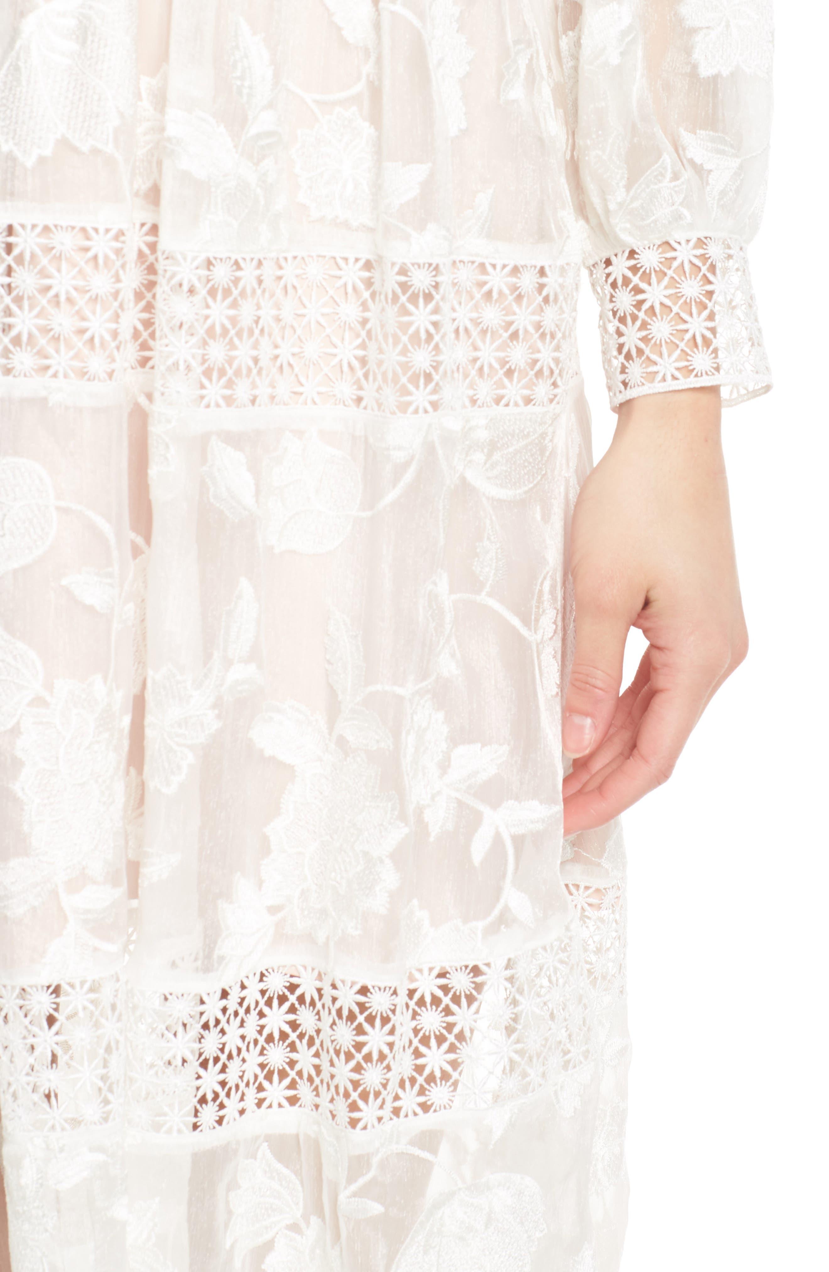 Floral Organza Tiered Midi Dress,                             Alternate thumbnail 4, color,                             Porcelain/ Pink