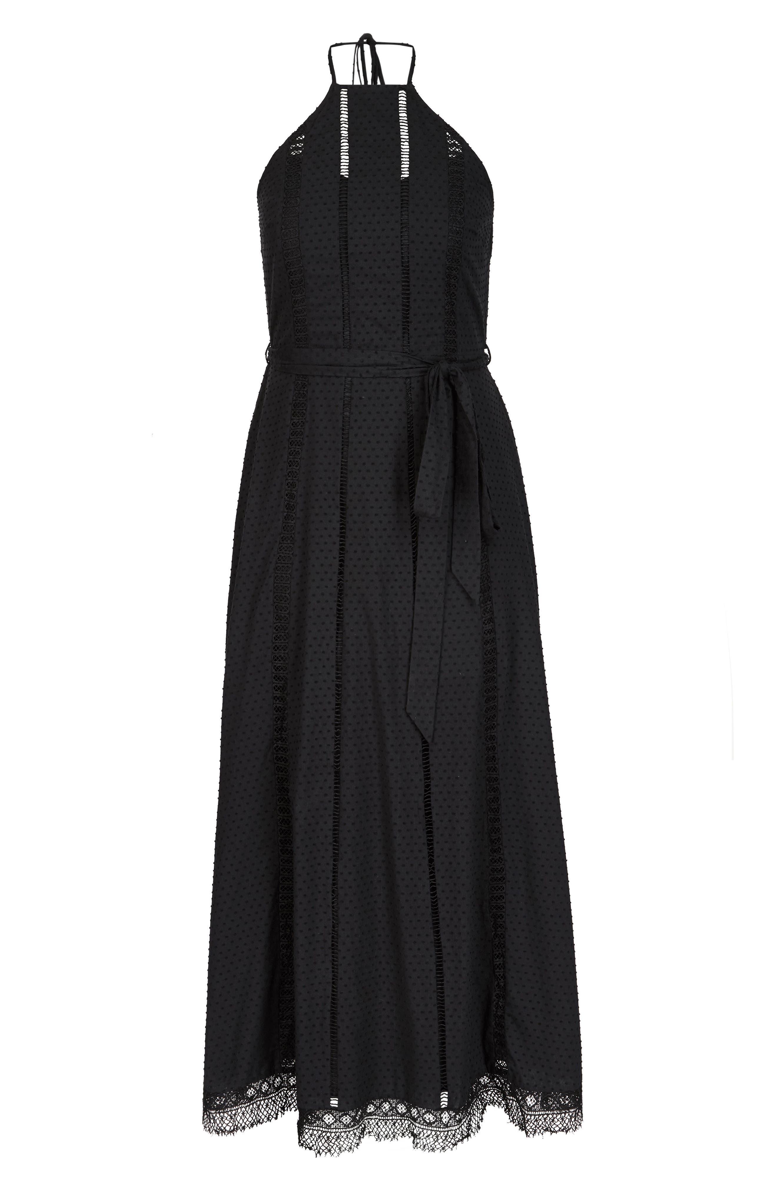 Lace Trim Swiss Dot Halter Maxi Dress,                             Alternate thumbnail 3, color,                             Black