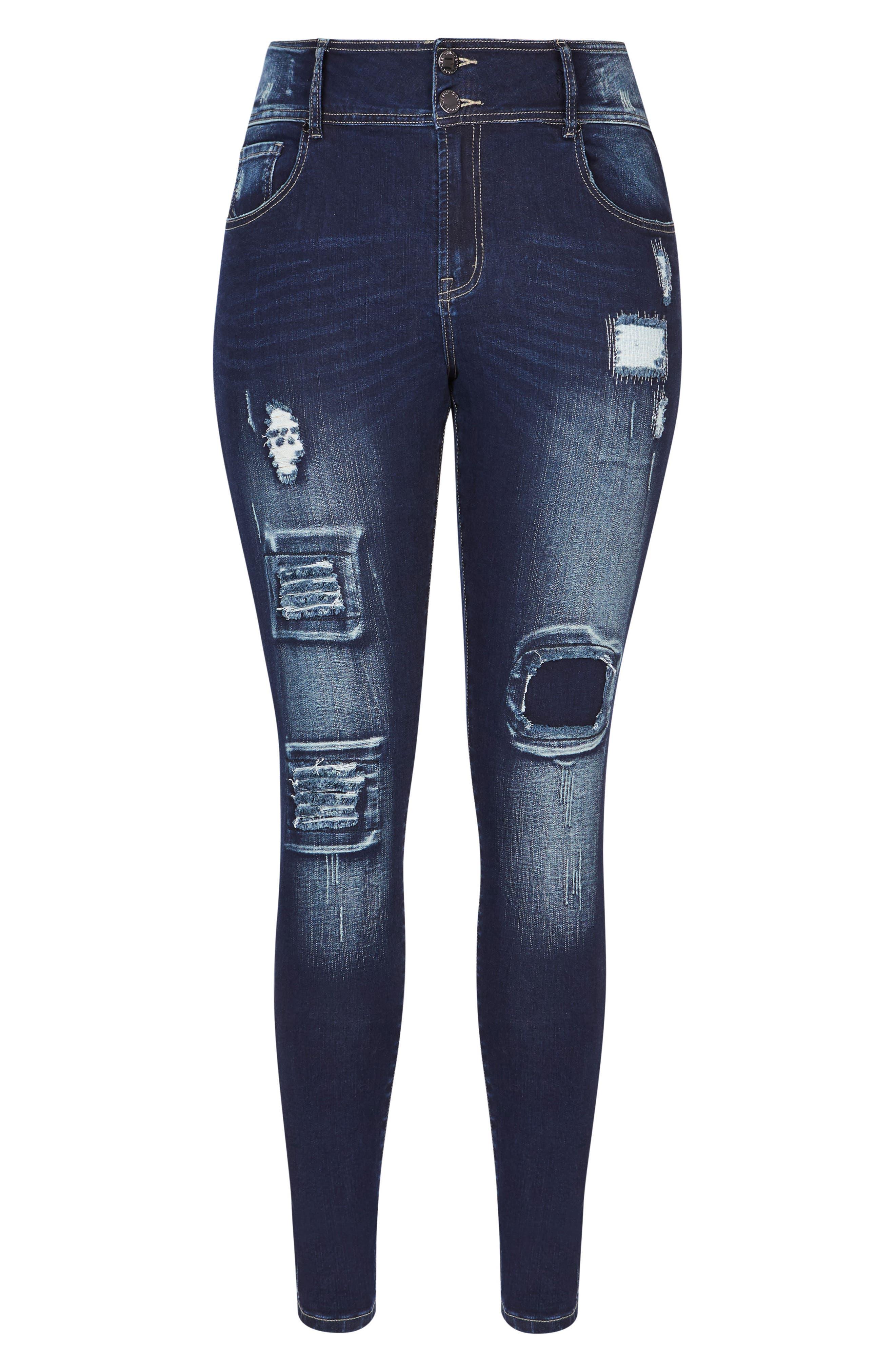 Harley Patched Skinny Jeans,                             Alternate thumbnail 3, color,                             Dark Indigo