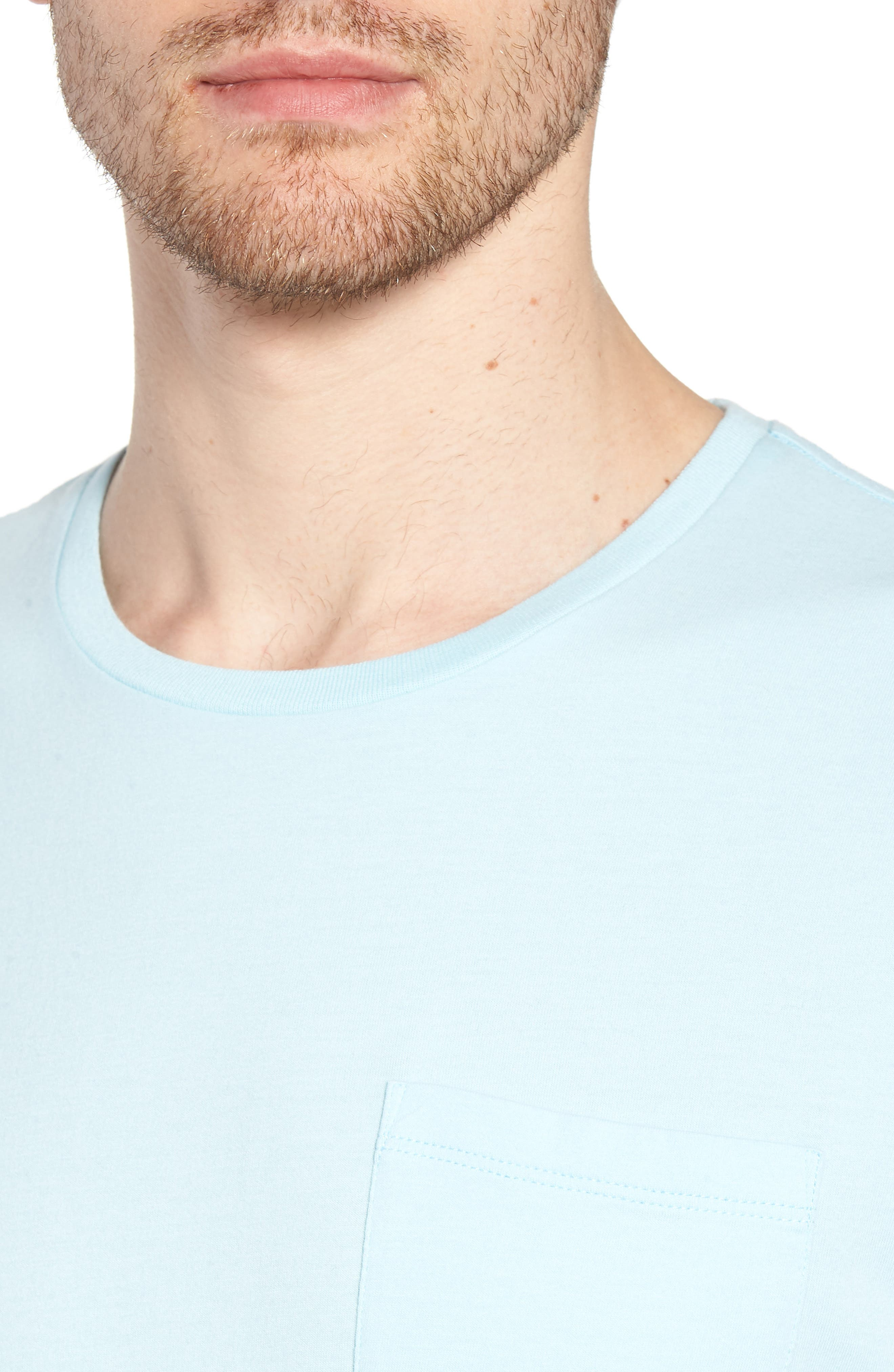 Brushed Pima Cotton T-Shirt,                             Alternate thumbnail 4, color,                             Blue Orydalis