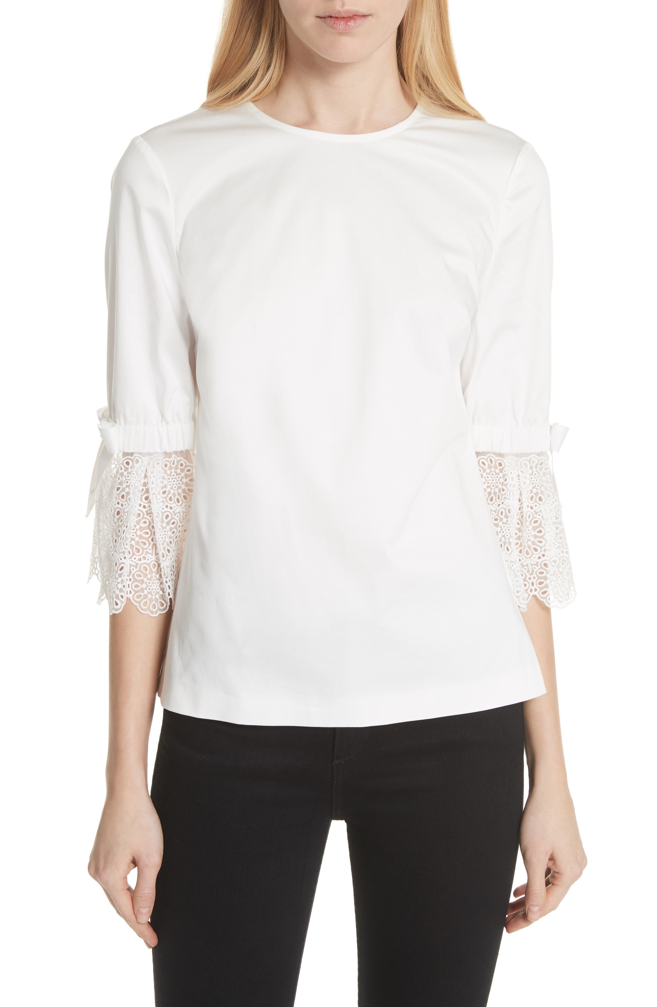 Broderie Lace Bow Sleeve Top,                         Main,                         color, White
