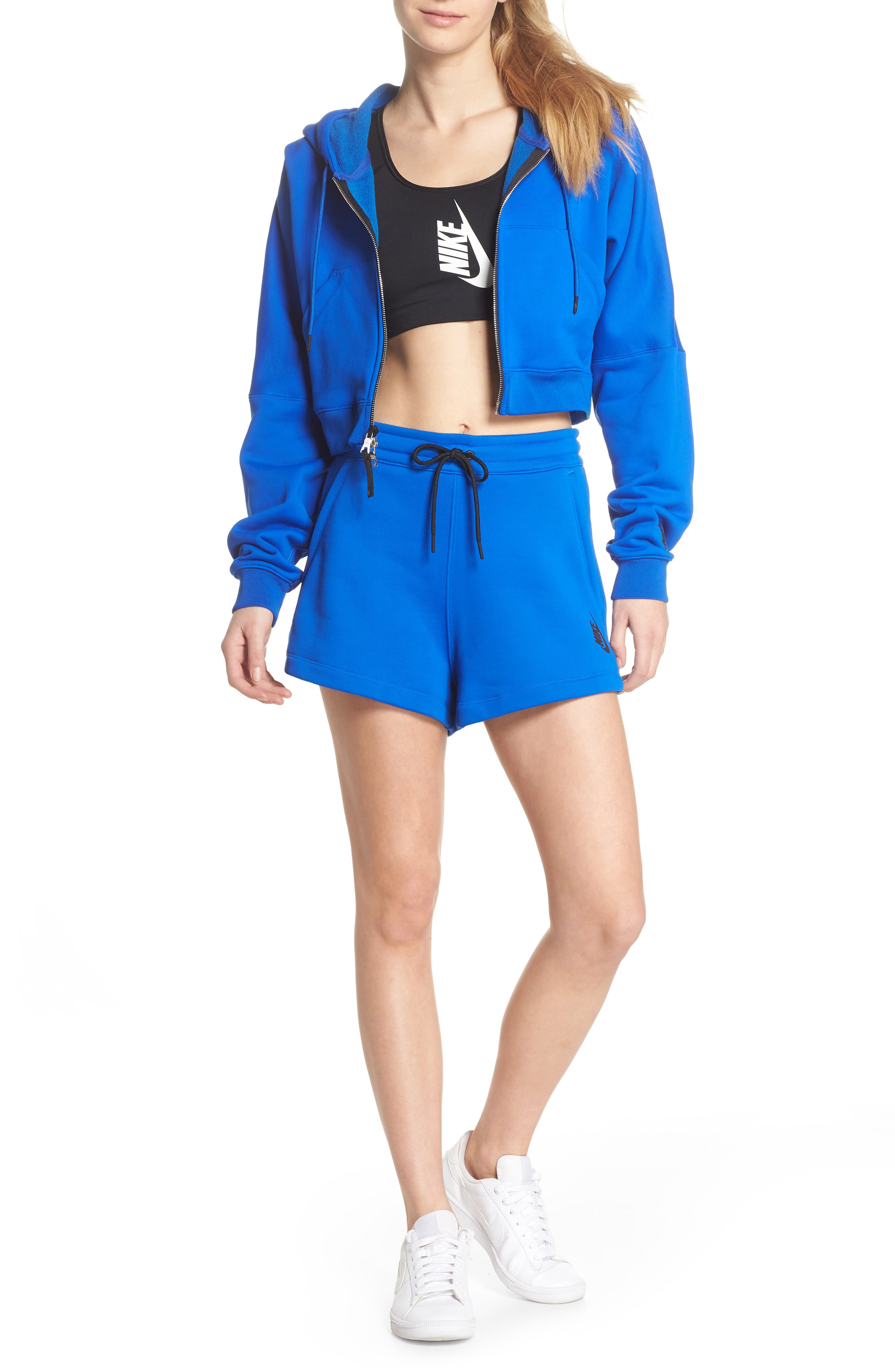 NikeLab Collection Women's Fleece Shorts,                             Alternate thumbnail 7, color,                             Hyper Cobalt/ Black
