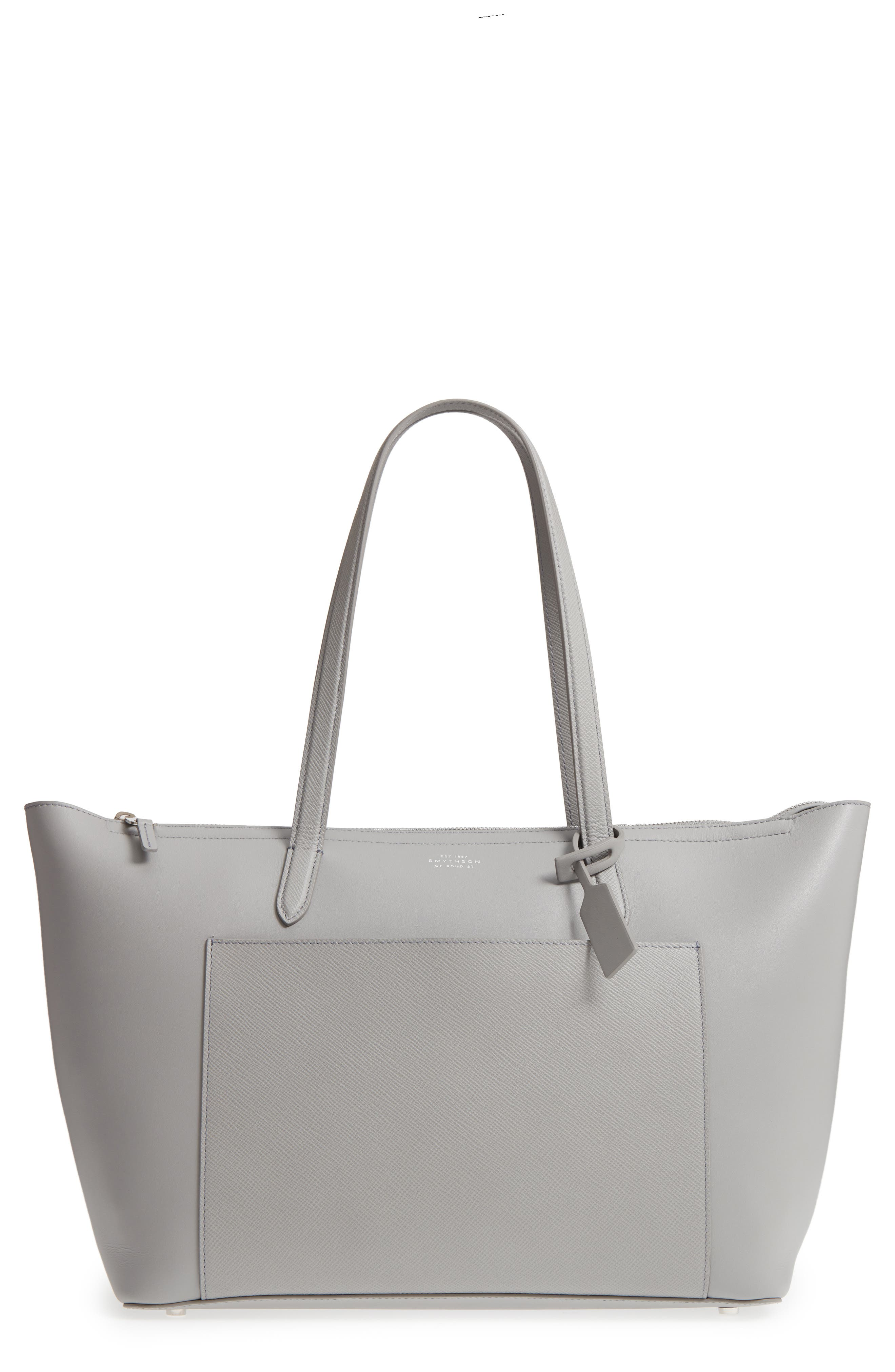 Panama East/West Leather Tote,                         Main,                         color, Cold Grey