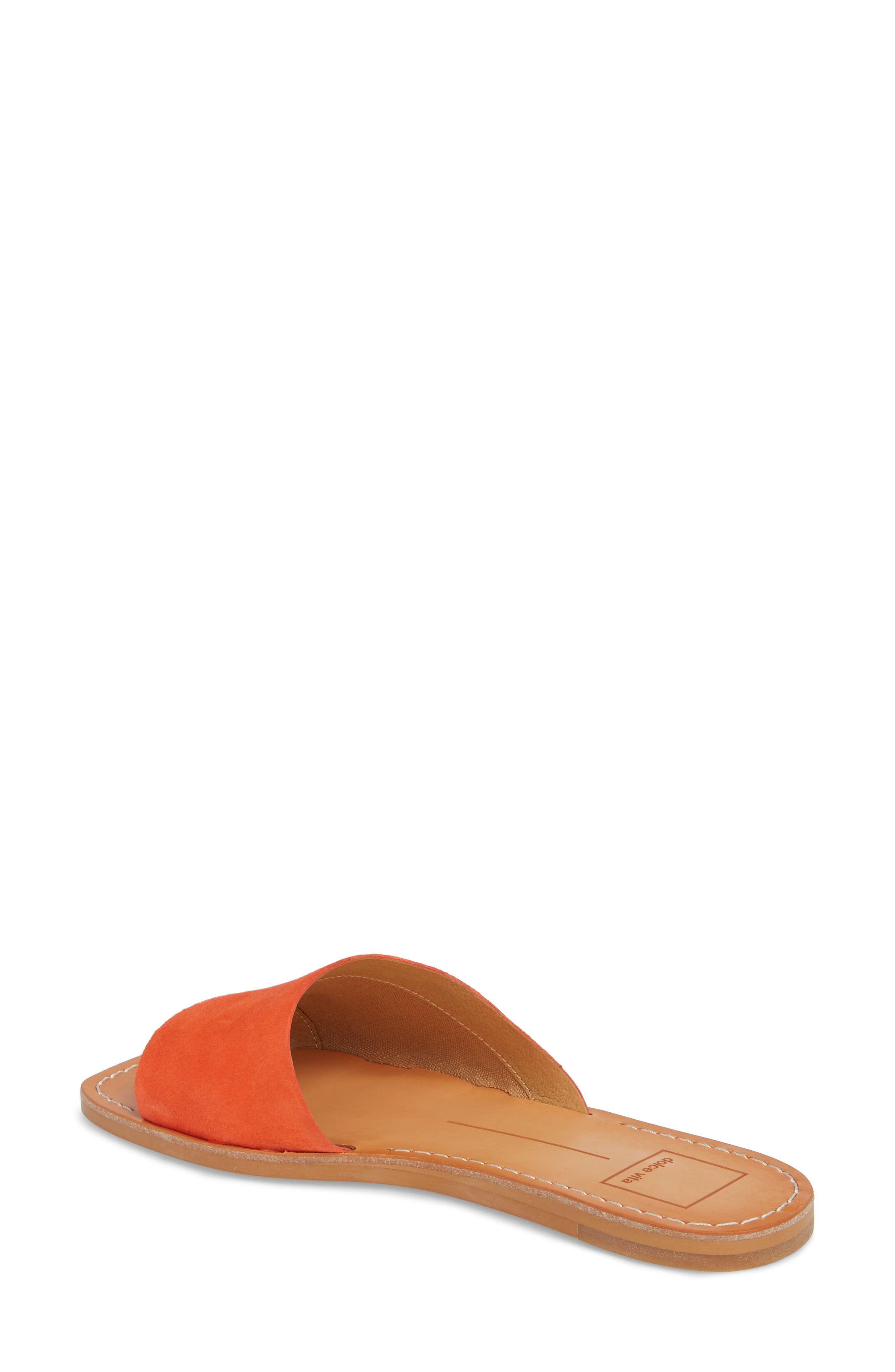 Cato Asymmetrical Slide Sandal,                             Alternate thumbnail 2, color,                             Orange Suede