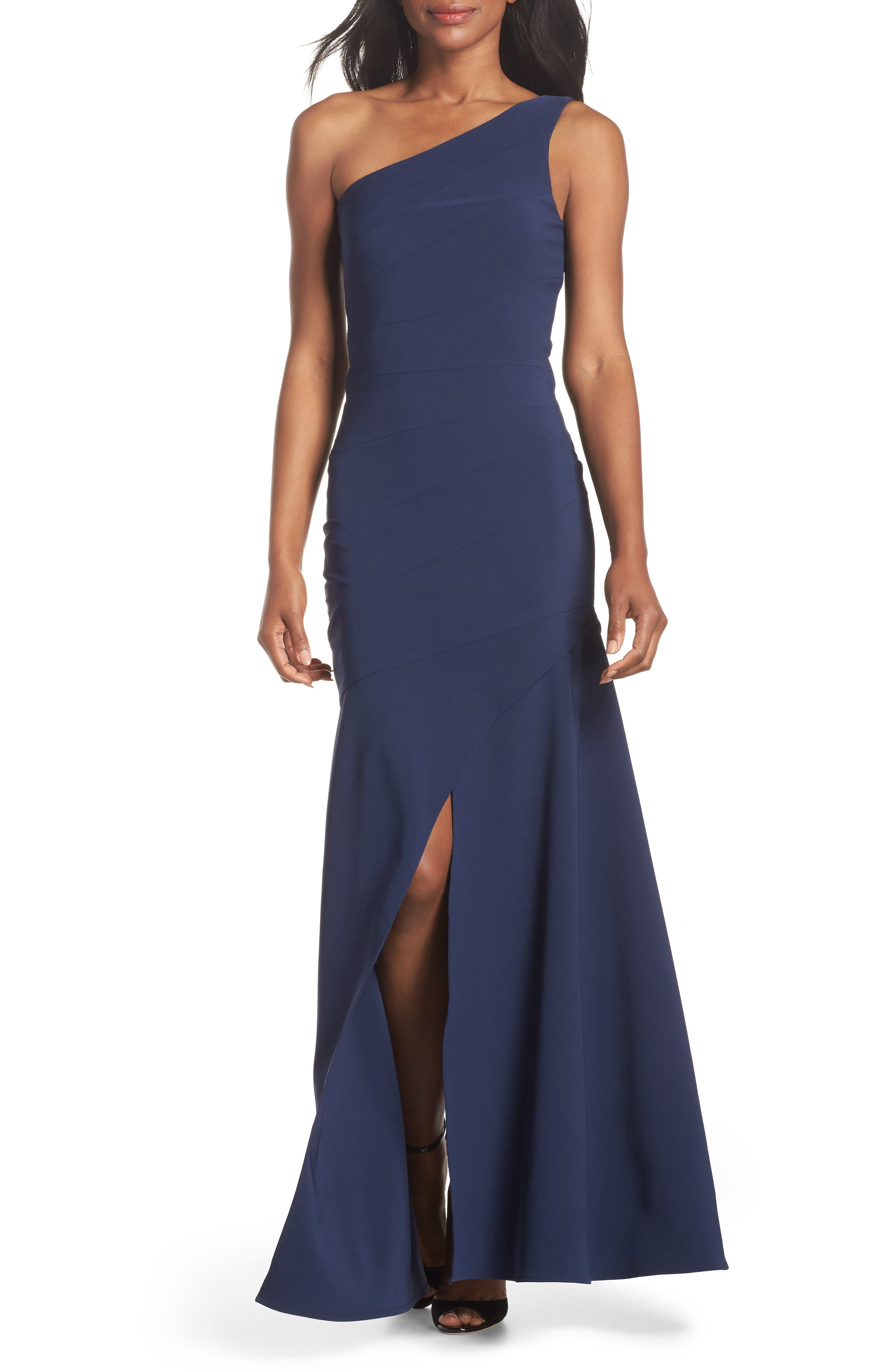 Claire One-Shoulder Gown,                         Main,                         color, Navy
