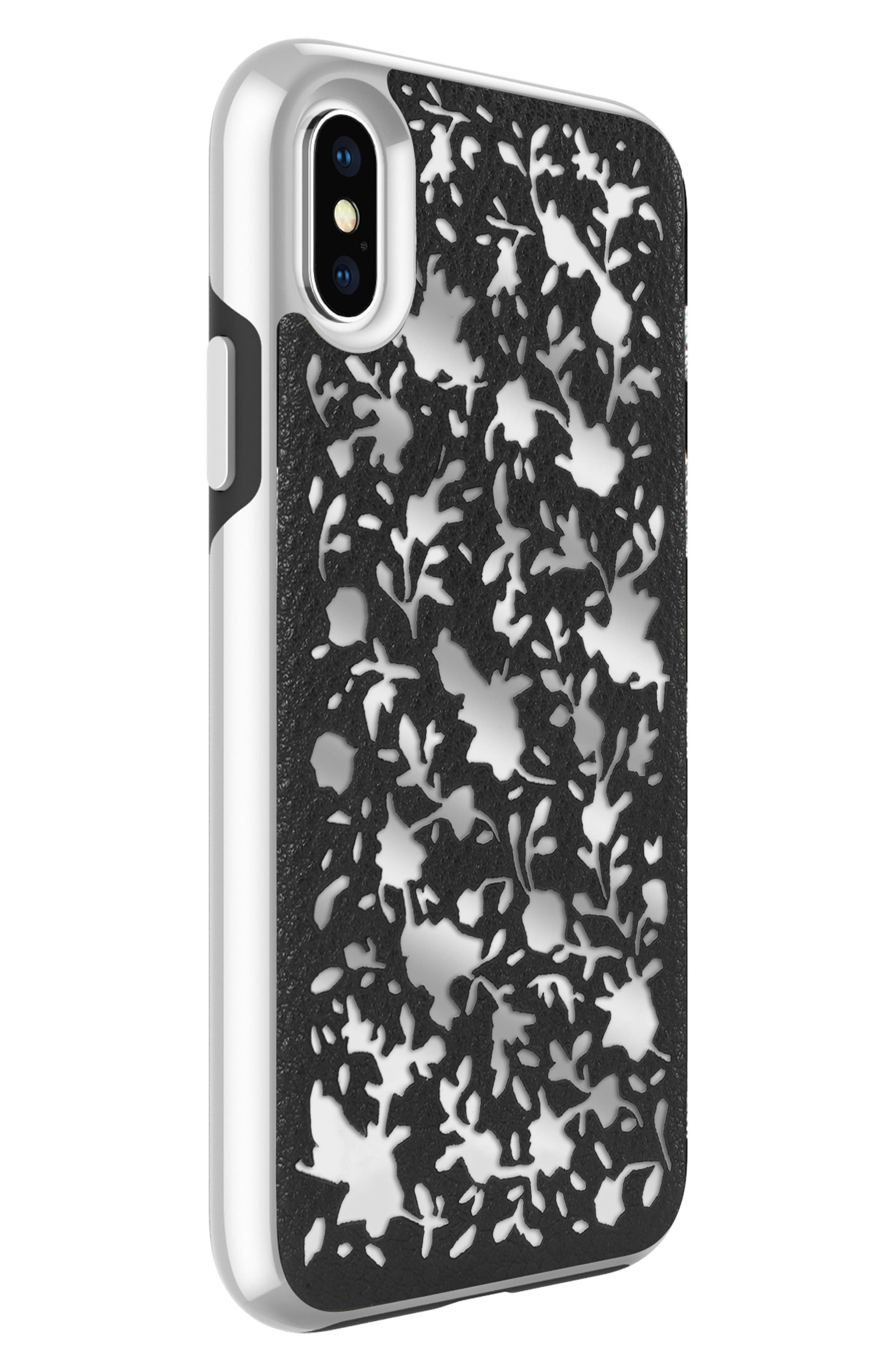 Luxury Calls Ditsy Floral iPhone X Case,                             Alternate thumbnail 4, color,                             Black/ Silver