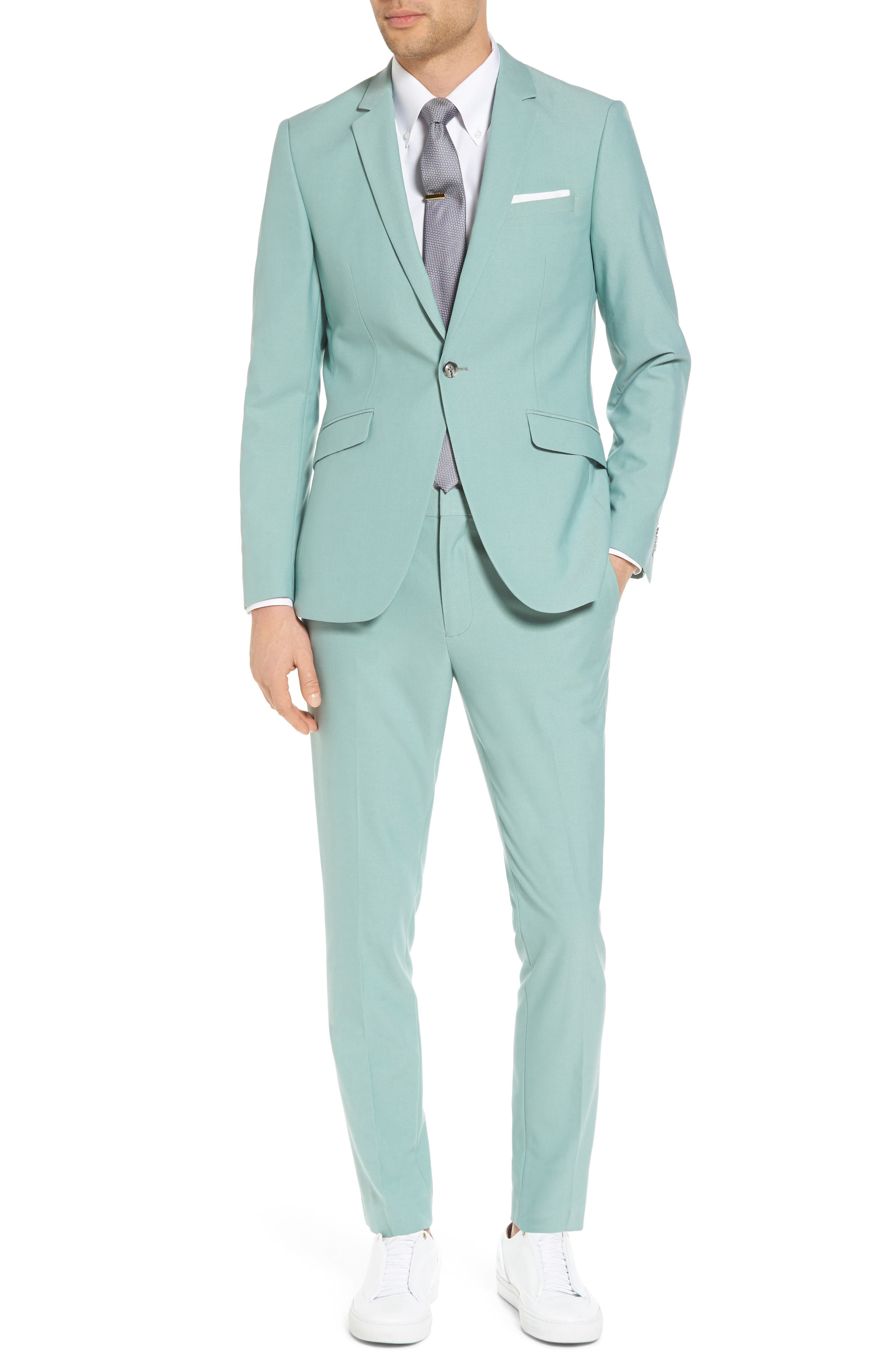 Skinny Fit Suit Trousers,                             Alternate thumbnail 2, color,                             Green