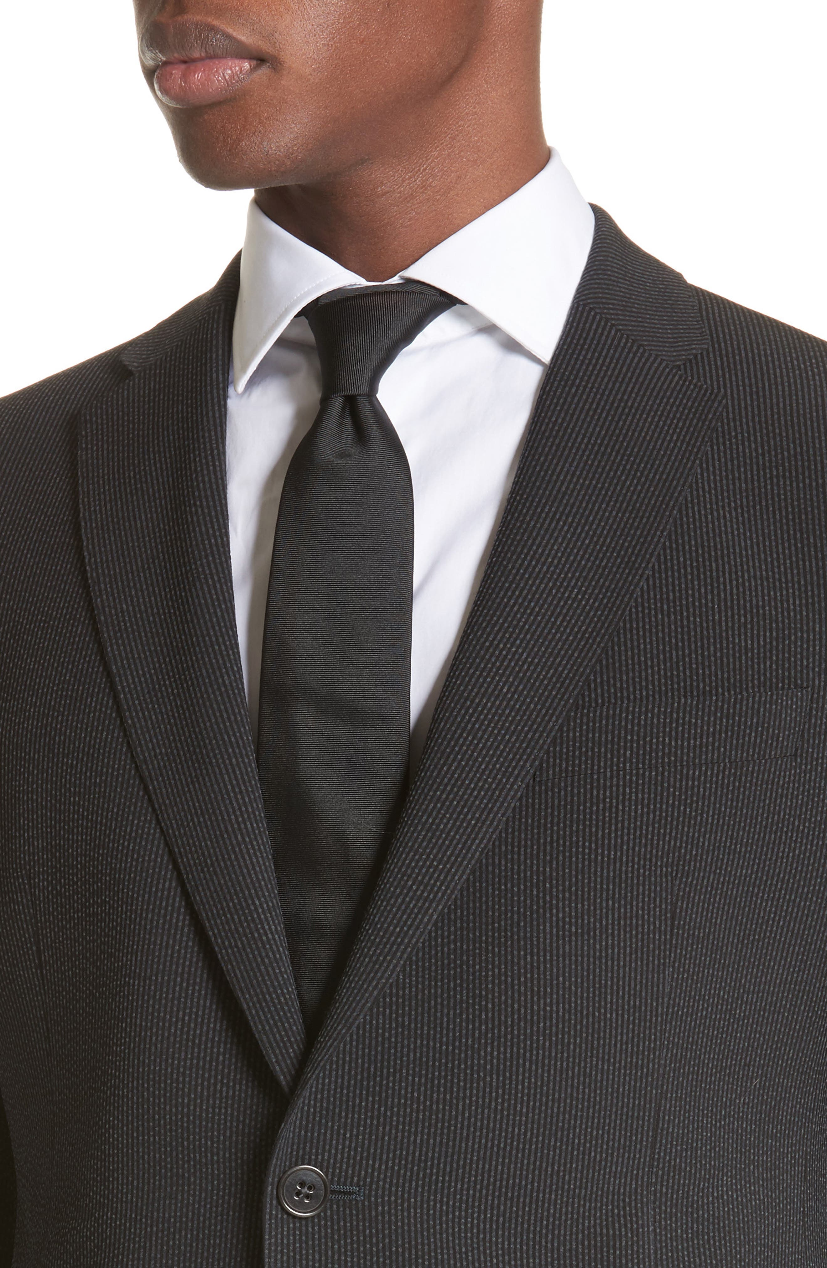 M Line Trim Fit Stretch Seersucker Wool Blend Suit,                             Alternate thumbnail 4, color,                             Grey