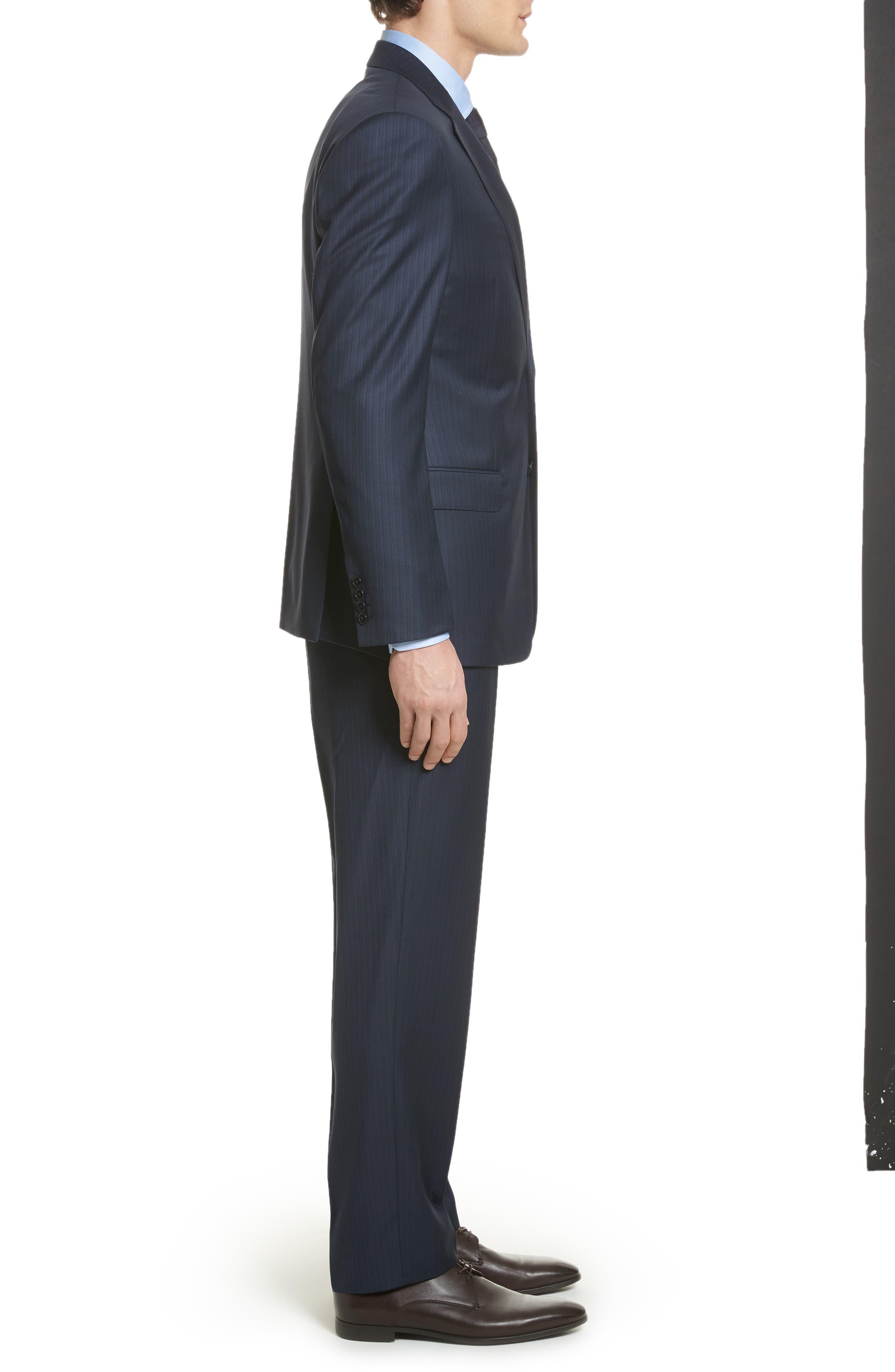 G Line Trim Fit Stripe Wool Suit,                             Alternate thumbnail 3, color,                             Blue