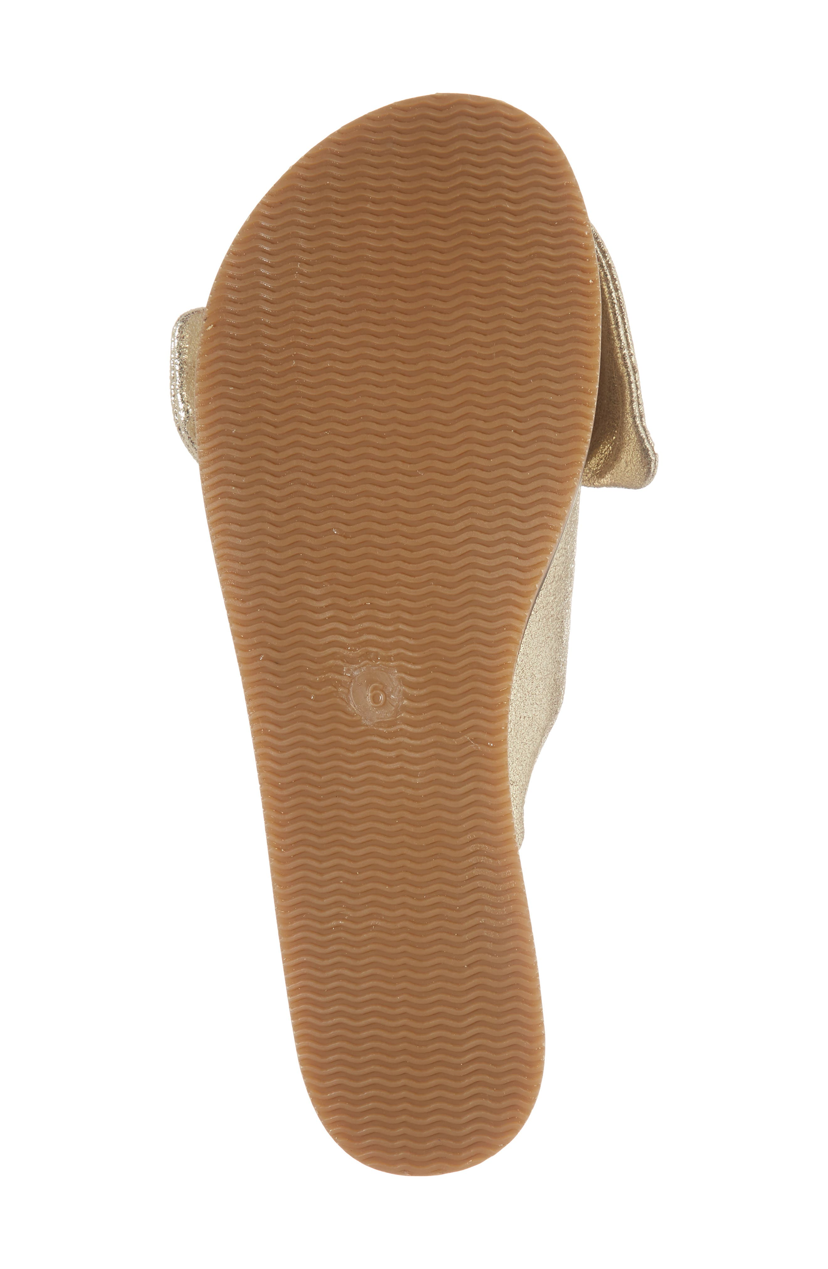 Childlike Enthusiam Slide Sandal,                             Alternate thumbnail 6, color,                             Gold Leather