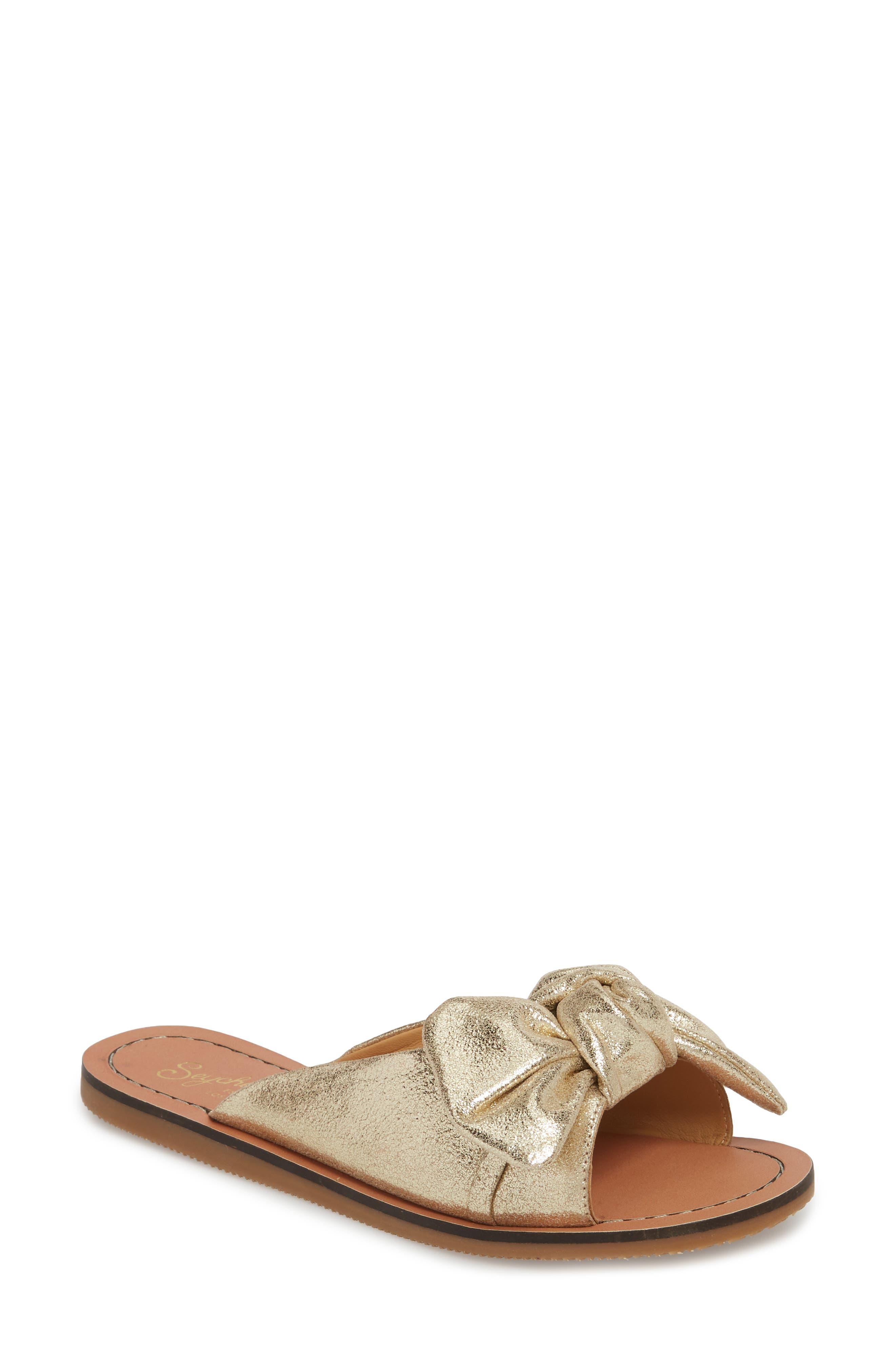 Childlike Enthusiam Slide Sandal,                         Main,                         color, Gold Leather