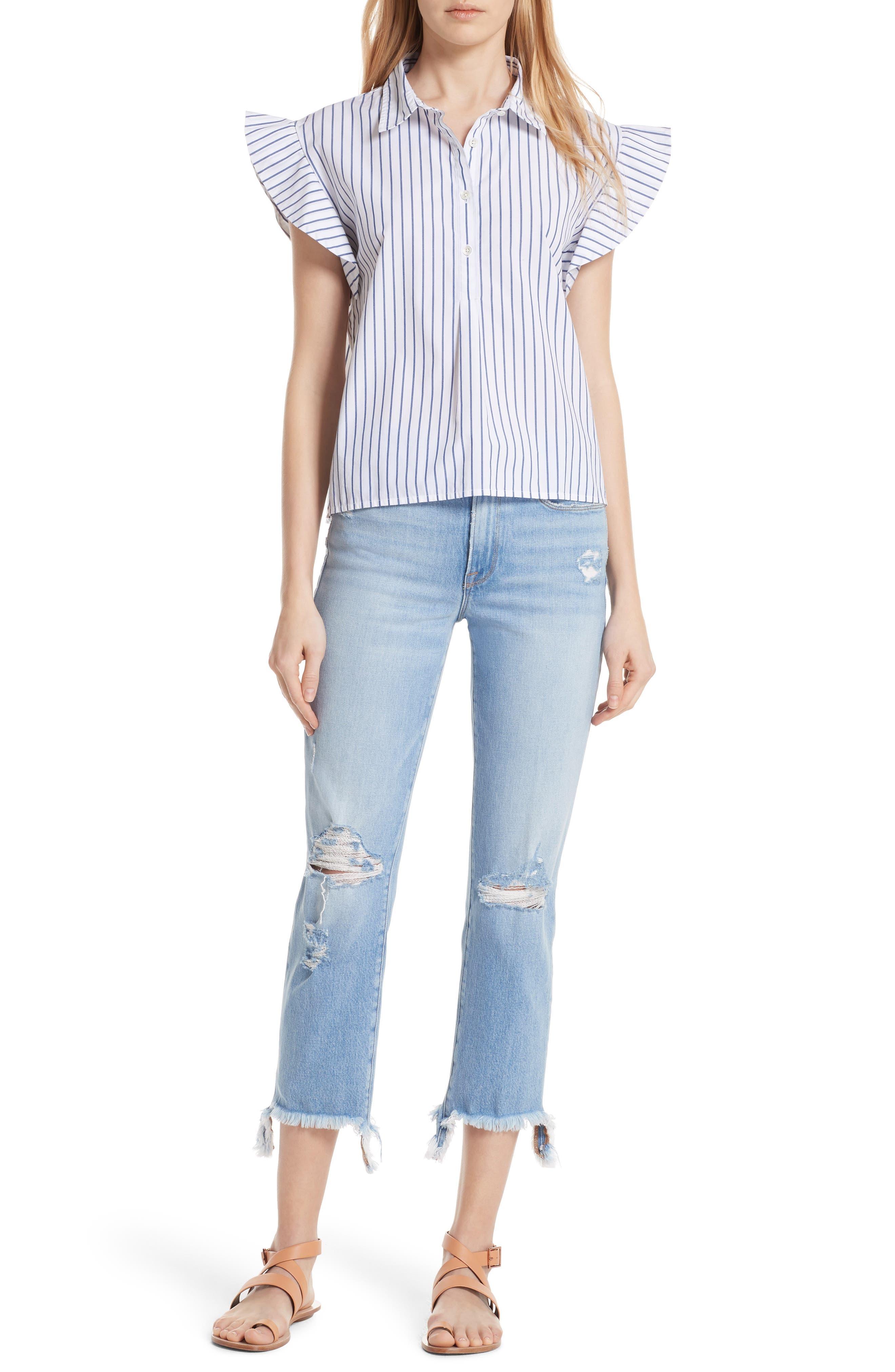 Flutter Sleeve Stripe Shirt,                             Alternate thumbnail 7, color,                             Blanc Multi