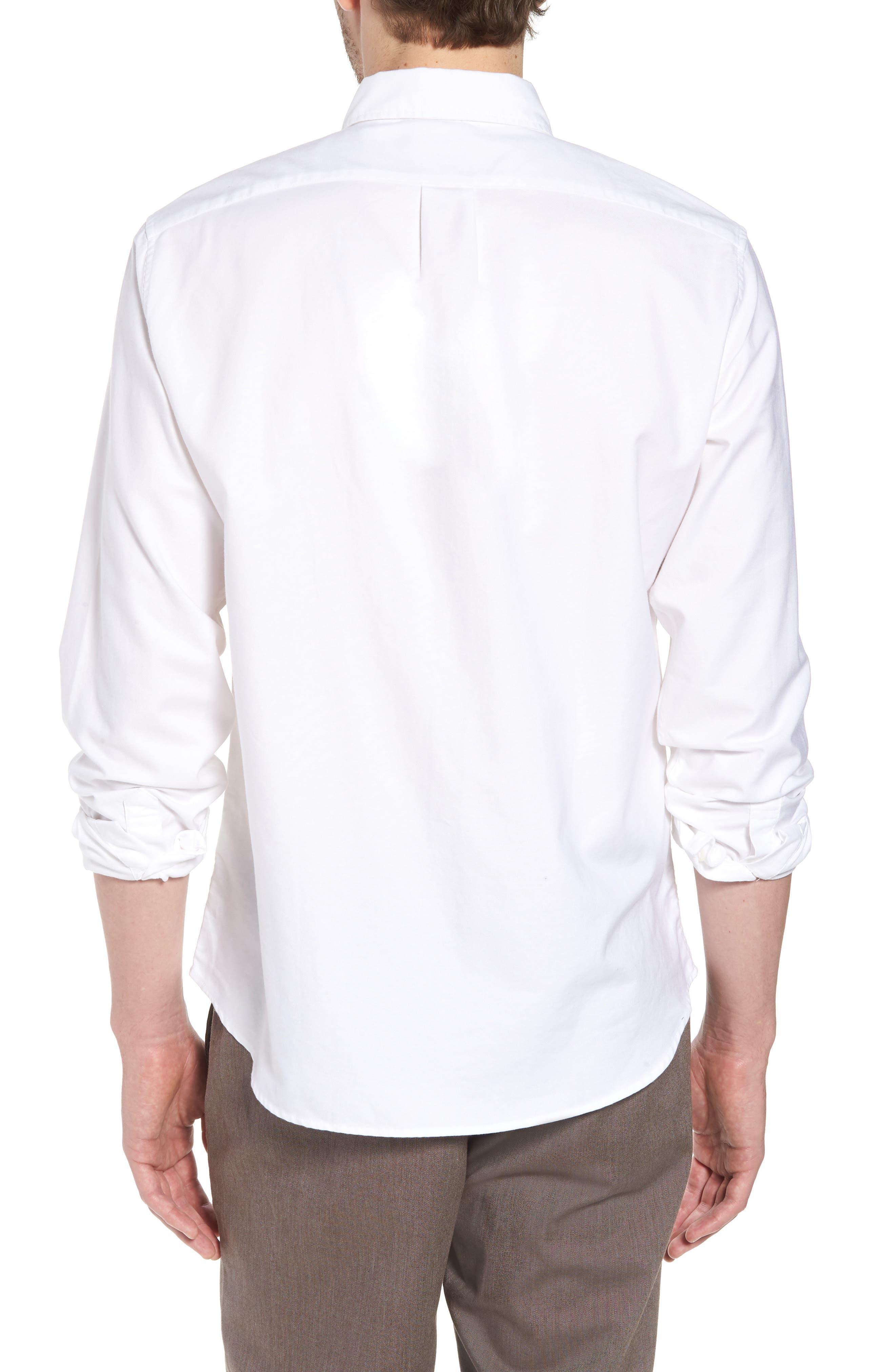 Slim Fit Stretch Pima Cotton Oxford Shirt,                             Alternate thumbnail 3, color,                             White