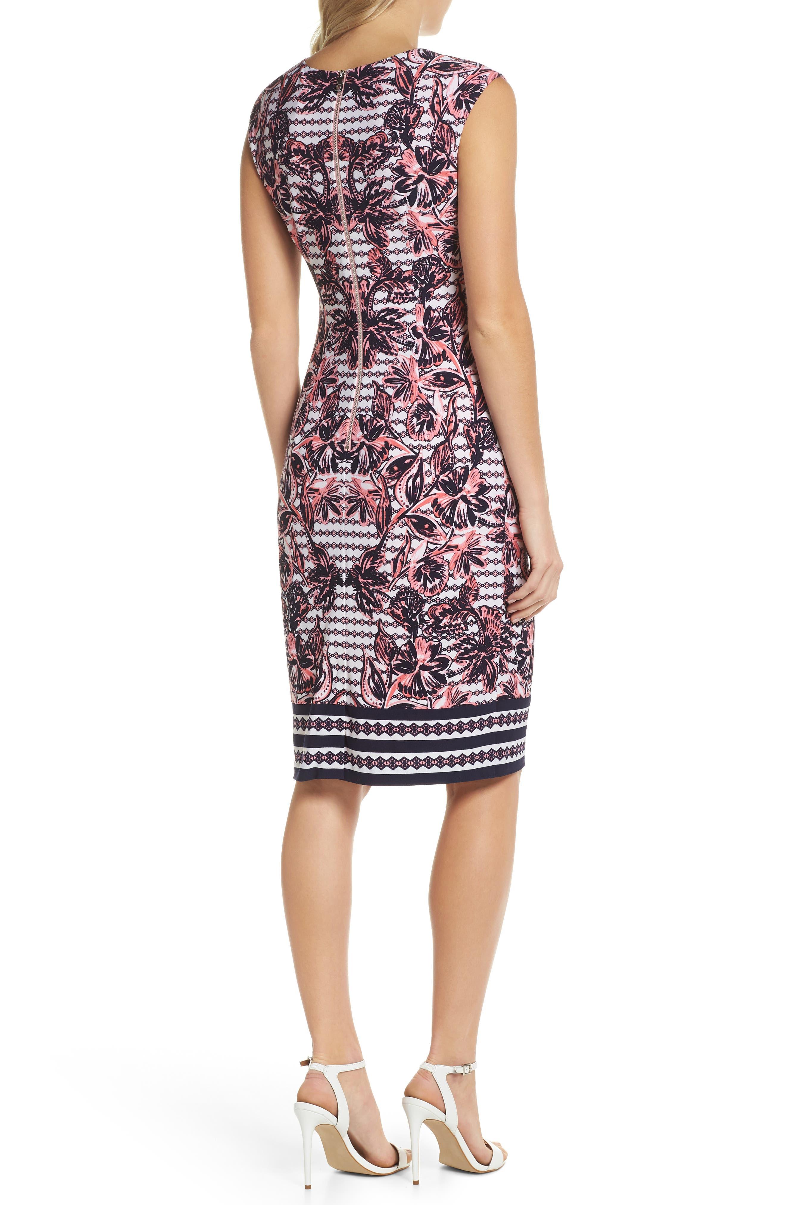 Print Scuba Crepe Sheath Dress,                             Alternate thumbnail 2, color,                             Navy/ Pink