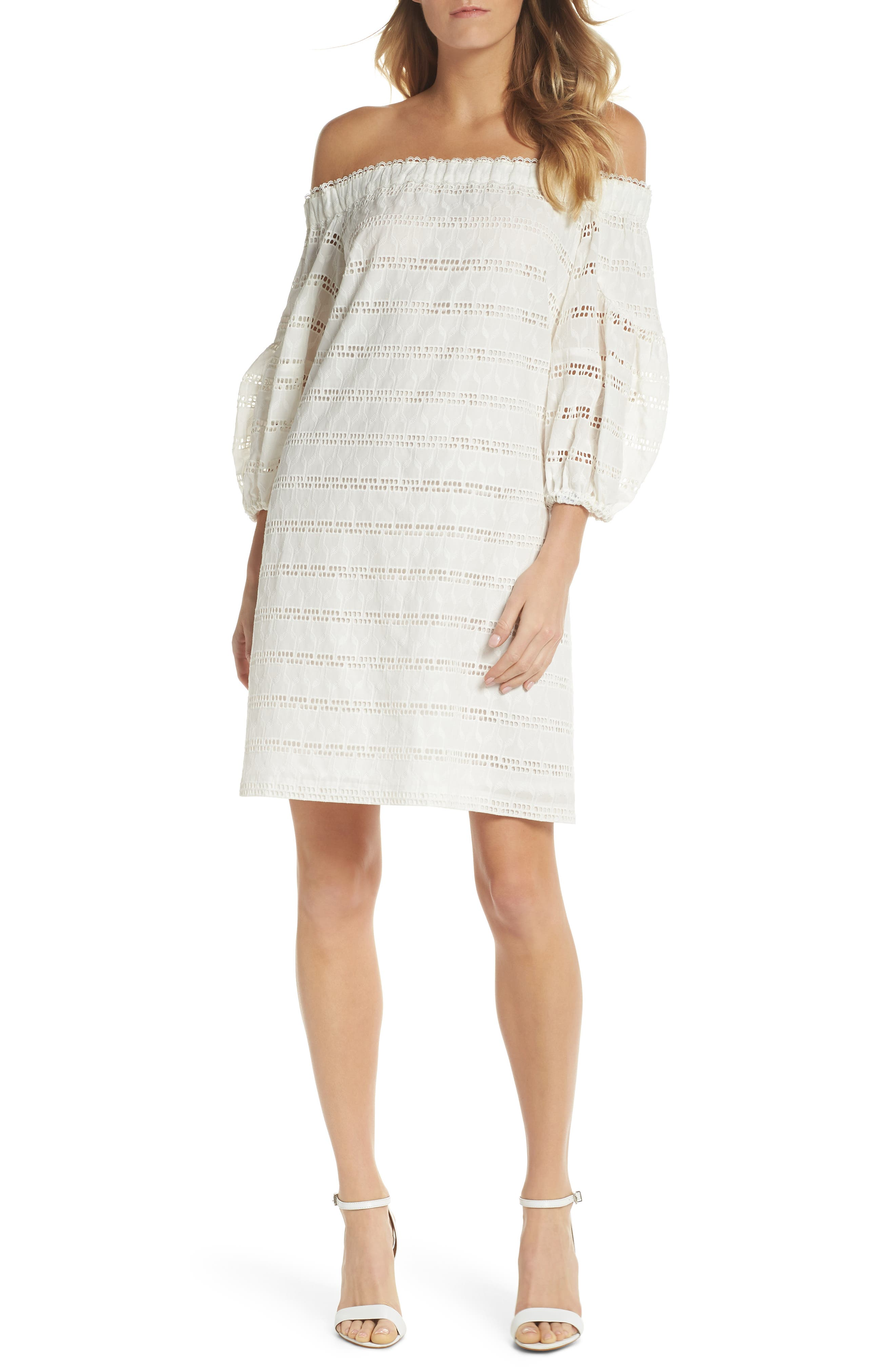 Vince Camuto Off the Shoulder Eyelet Shift Dress