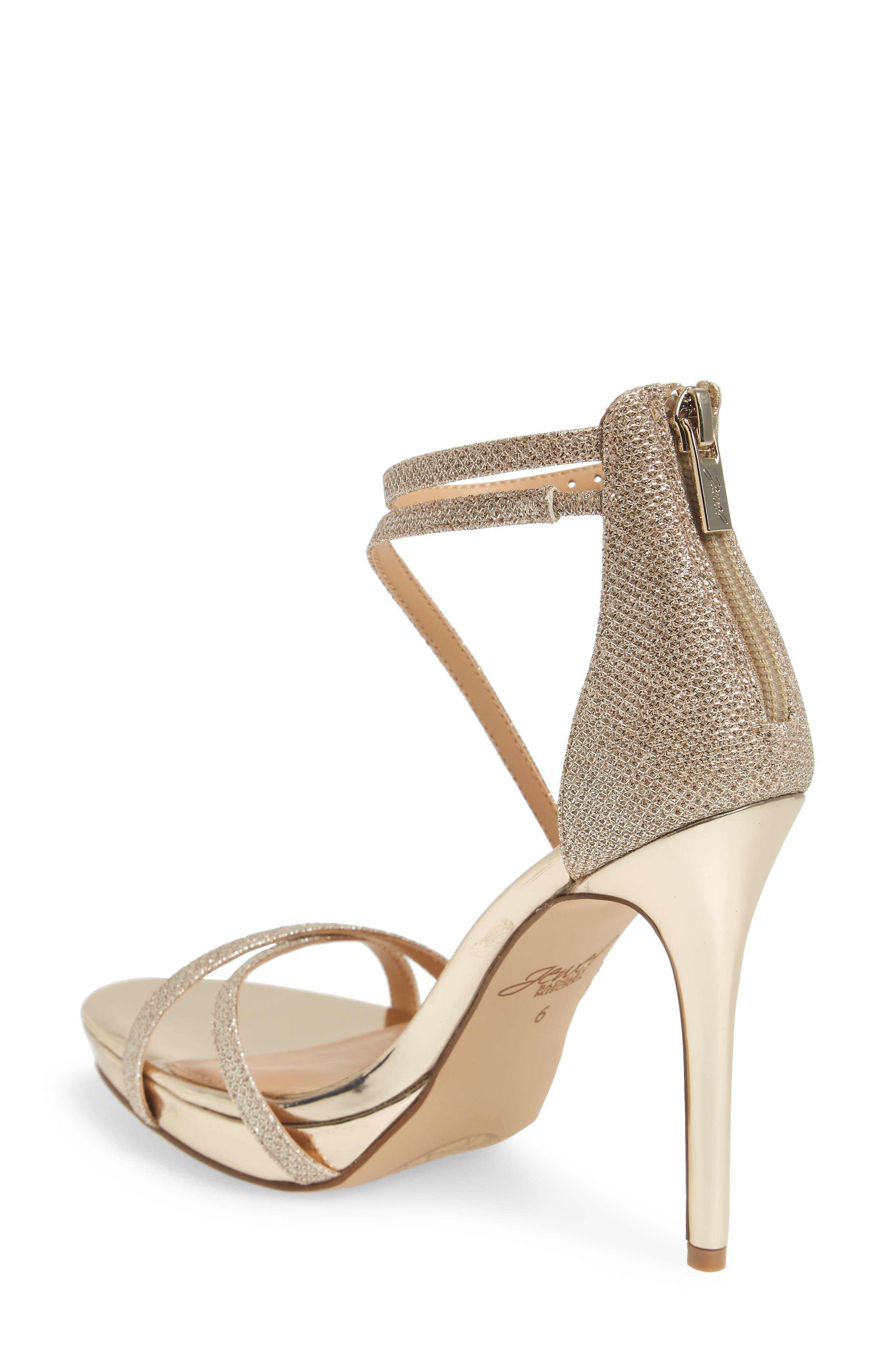 Galen Strappy Platform Sandal,                             Alternate thumbnail 2, color,                             Gold Glitter Fabric
