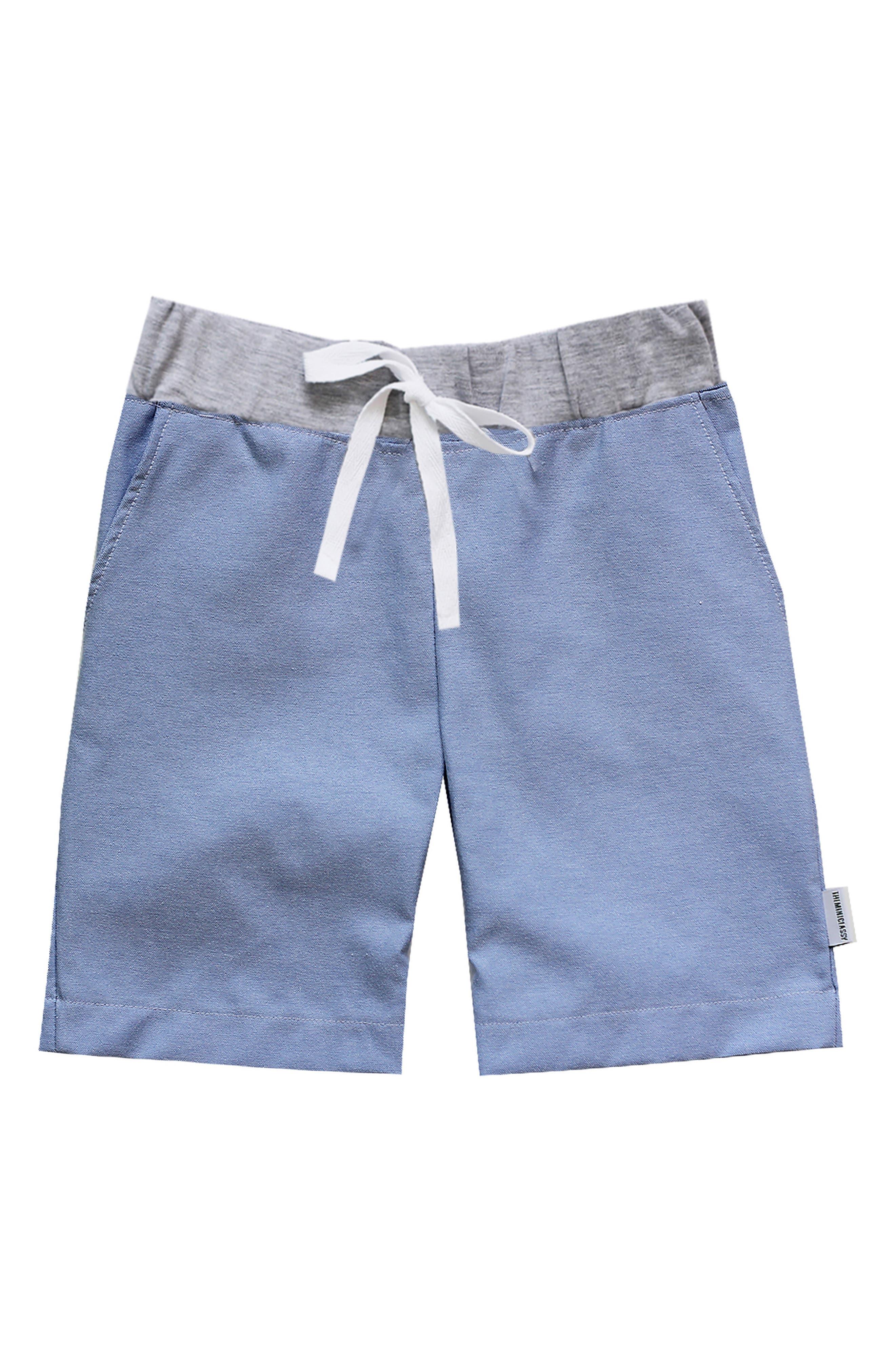 Chambray Board Shorts,                             Main thumbnail 1, color,                             Light Blue