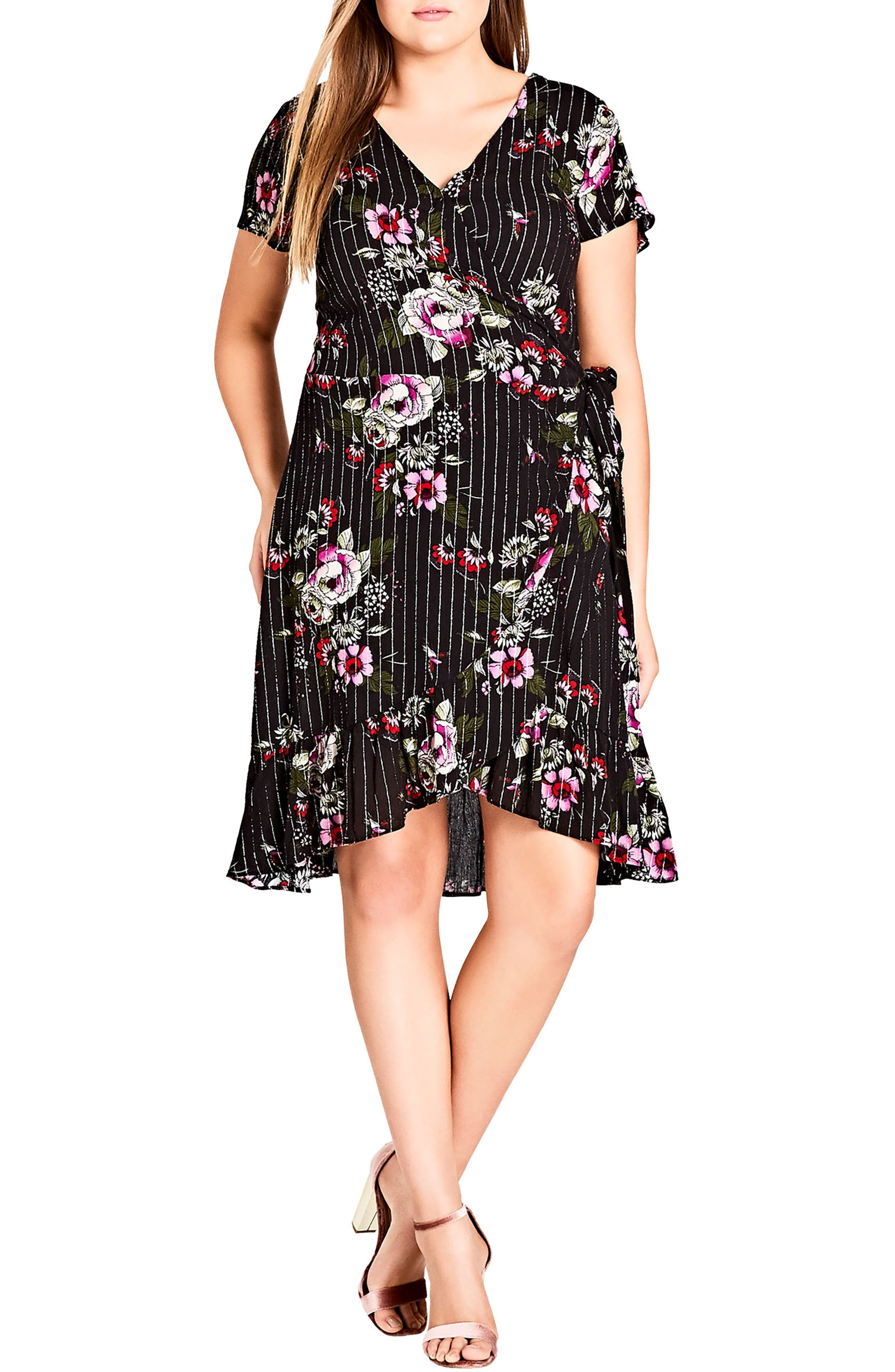 Lolita Wrap Dress,                         Main,                         color, Black
