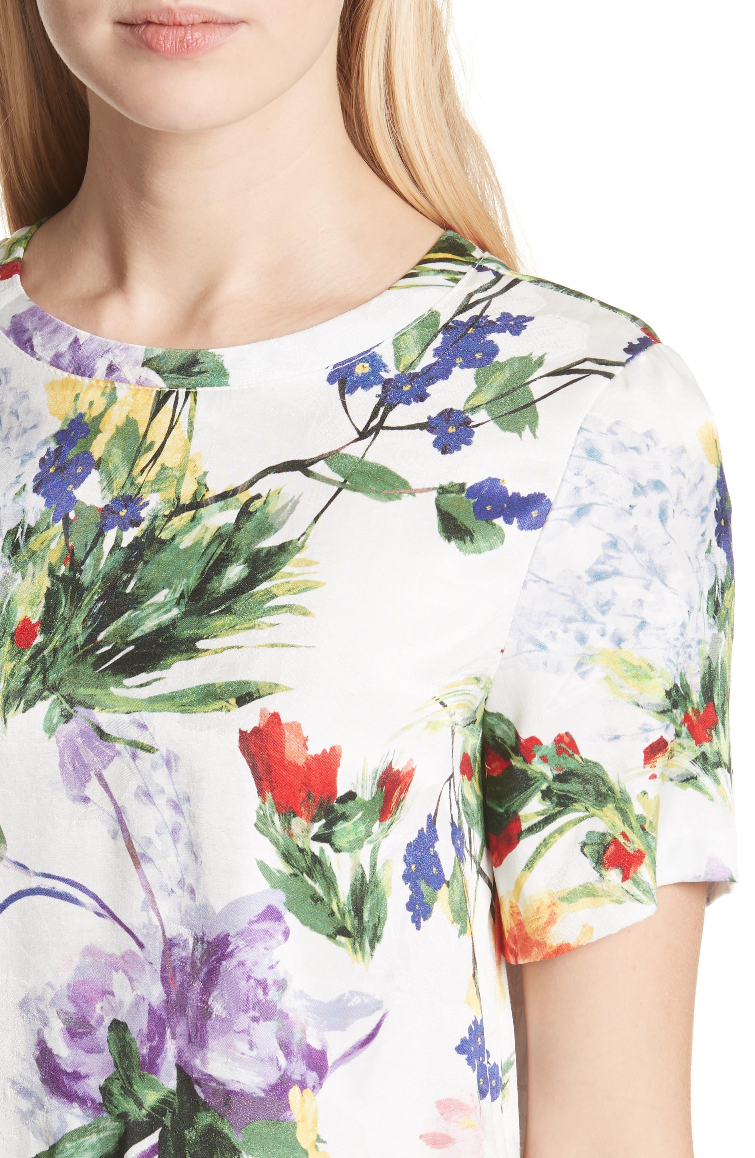 Hellen Boxy Floral Print Tee,                             Alternate thumbnail 4, color,                             Wildflower