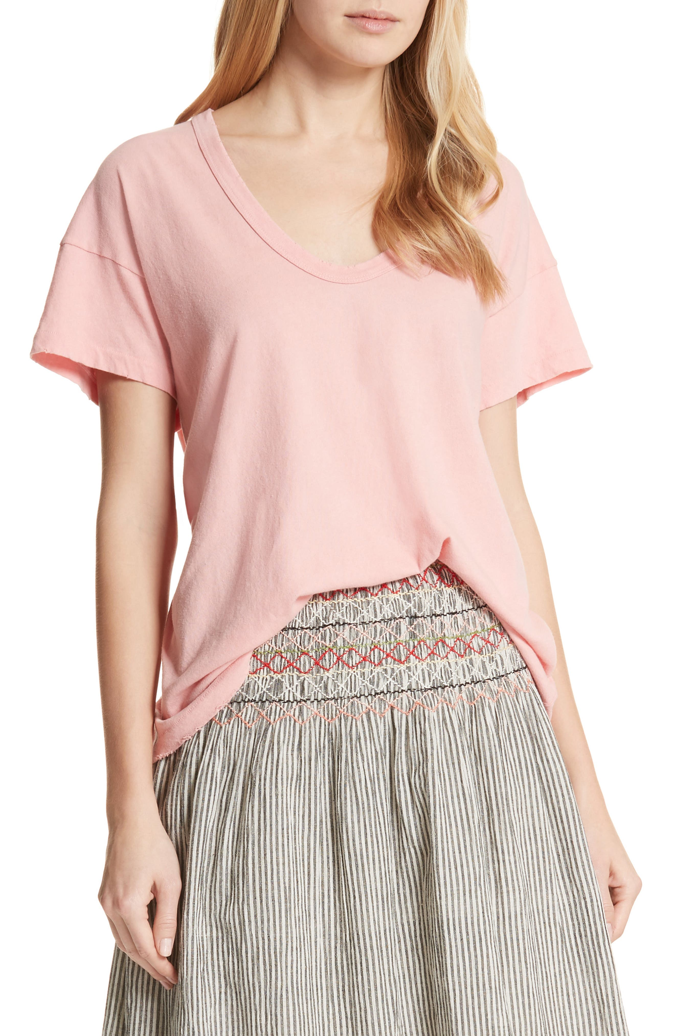 U-Neck Tee,                         Main,                         color, Posey