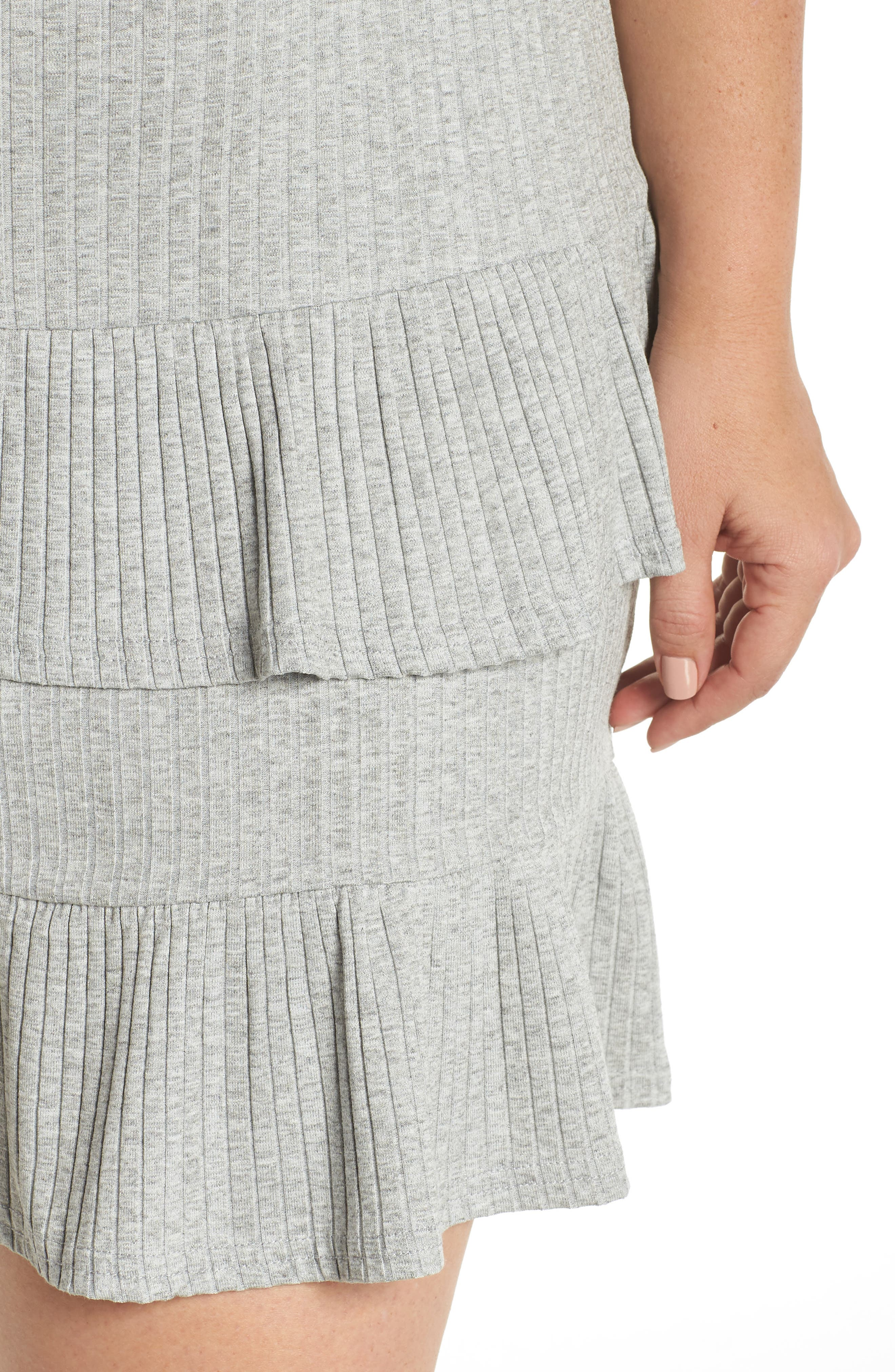 Fit & Flare Ribbed Dress,                             Alternate thumbnail 4, color,                             Grey