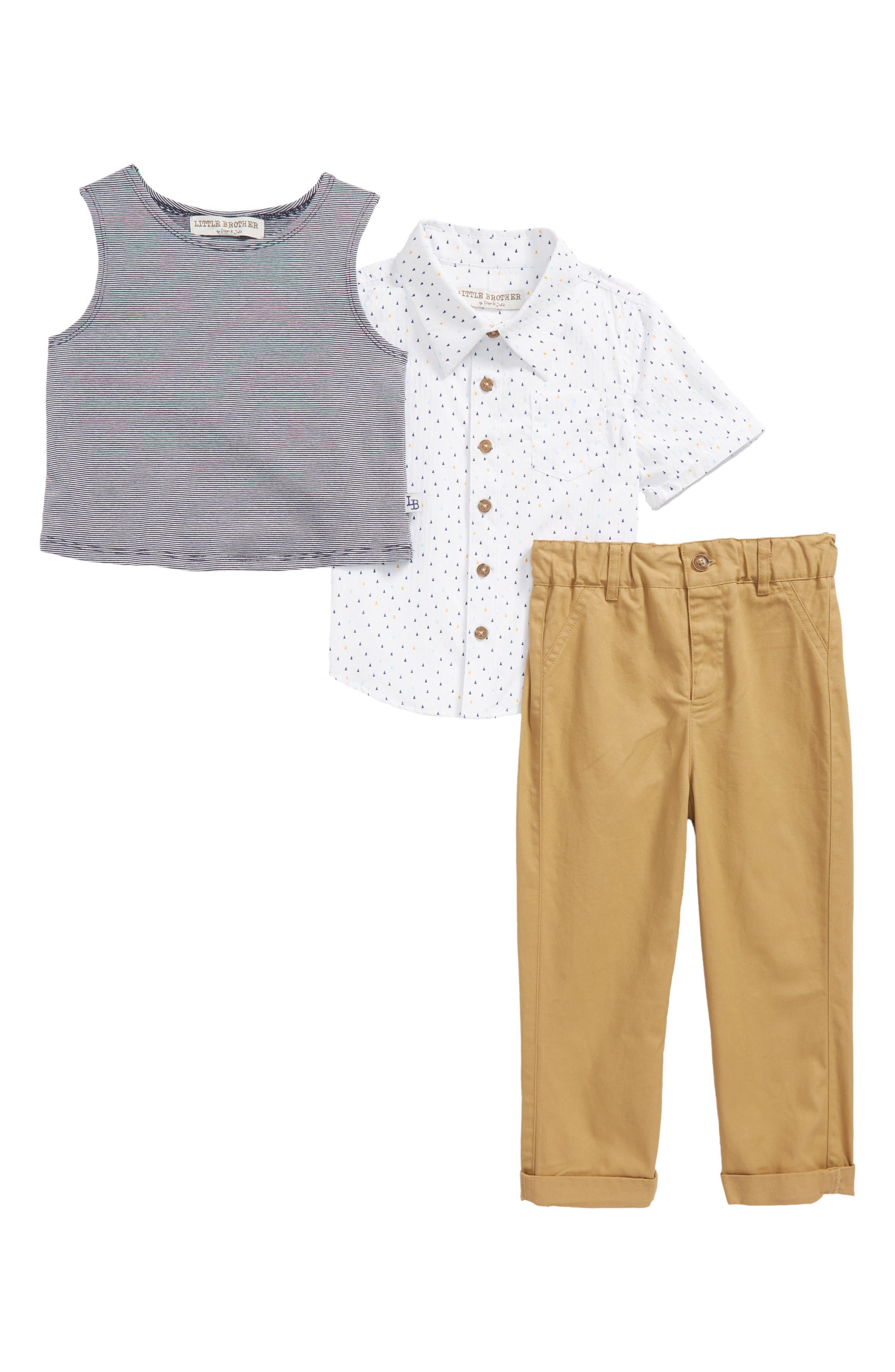 Tank Top, Woven Shirt & Khakis Set,                         Main,                         color, White