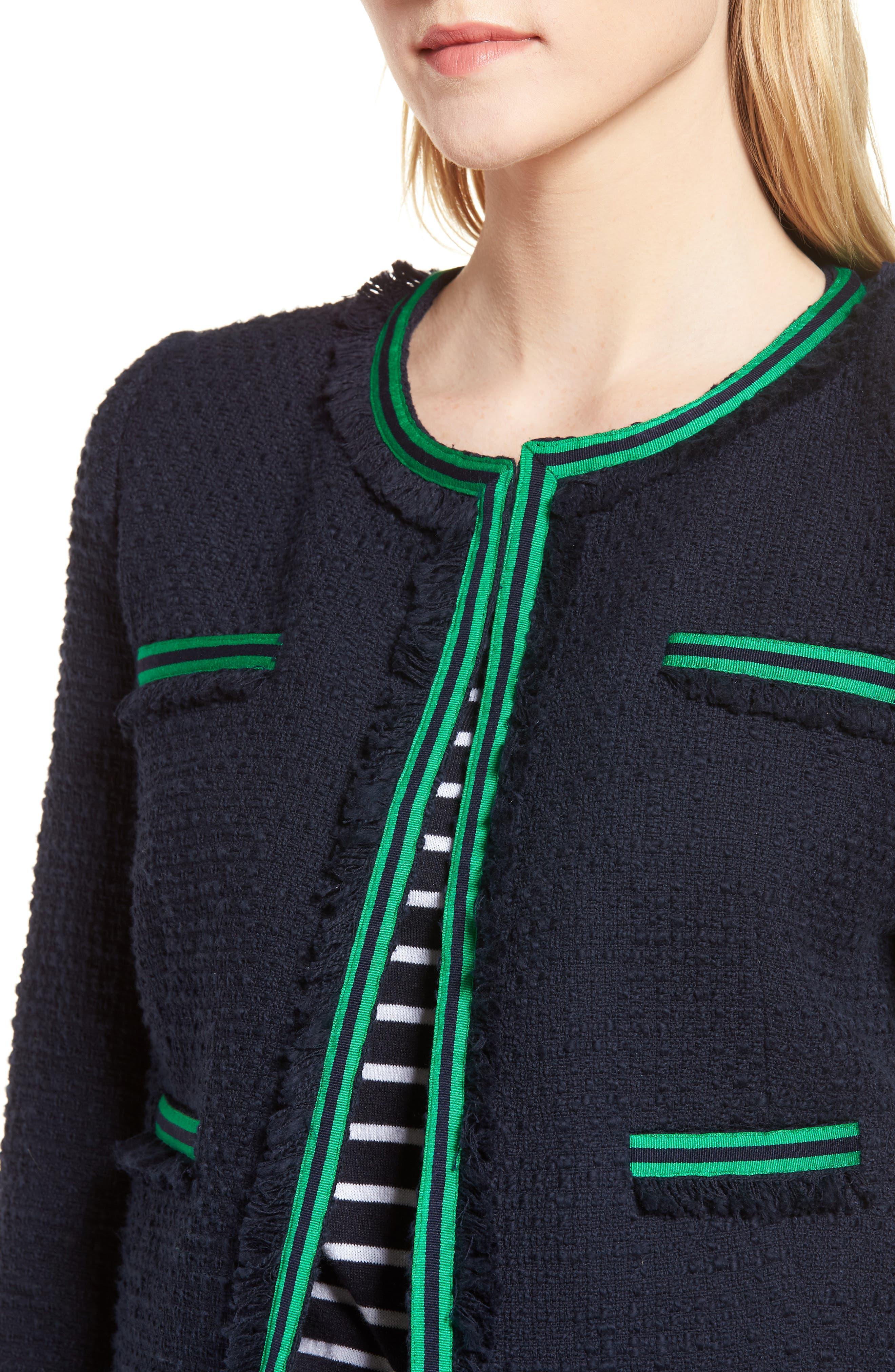 Ribbon Trim Textured Cotton Open Front Jacket,                             Alternate thumbnail 4, color,                             Navy Night