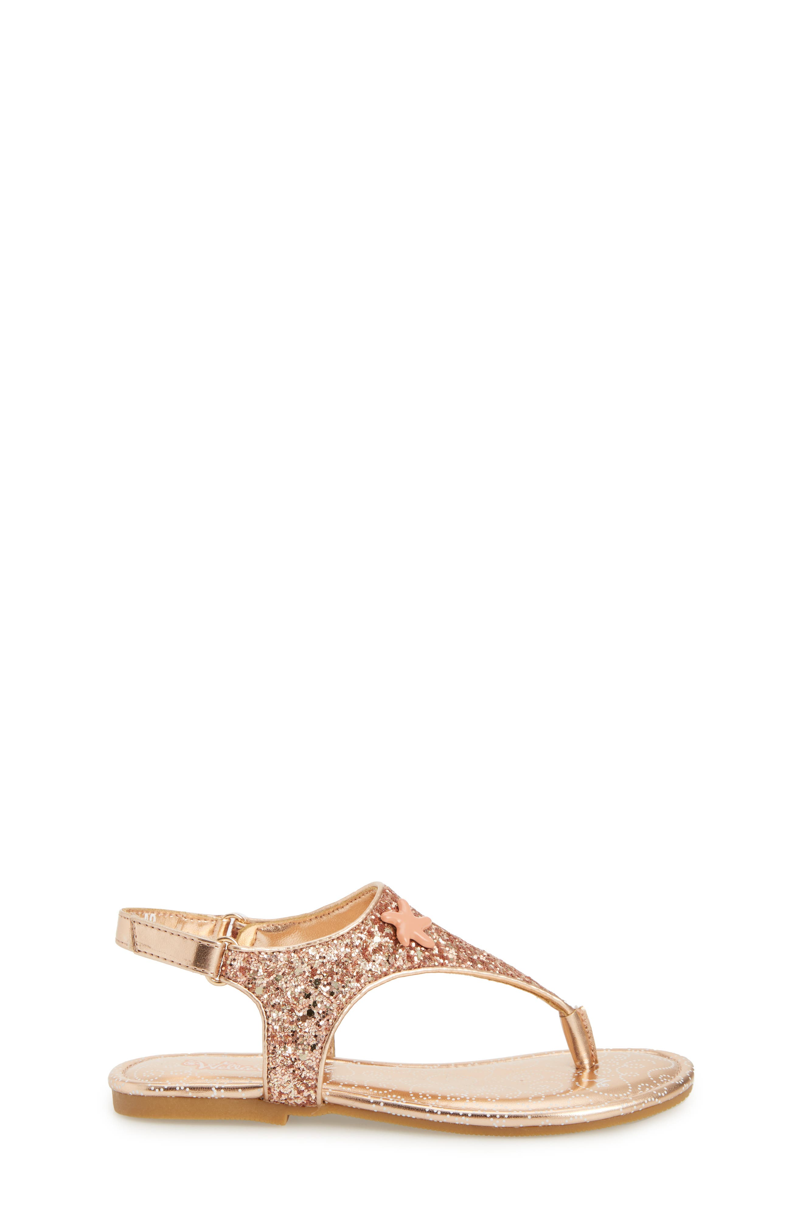 Camille Glitter Thong Sandal,                             Alternate thumbnail 3, color,                             Rose Gold