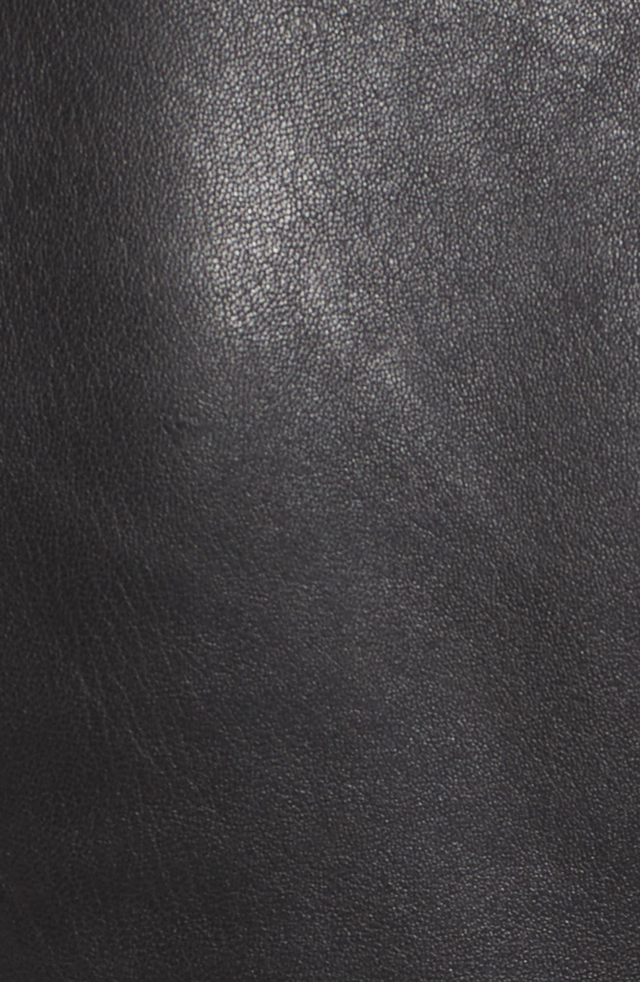 Highgrove Leather BIker Jacket,                             Alternate thumbnail 6, color,                             Black