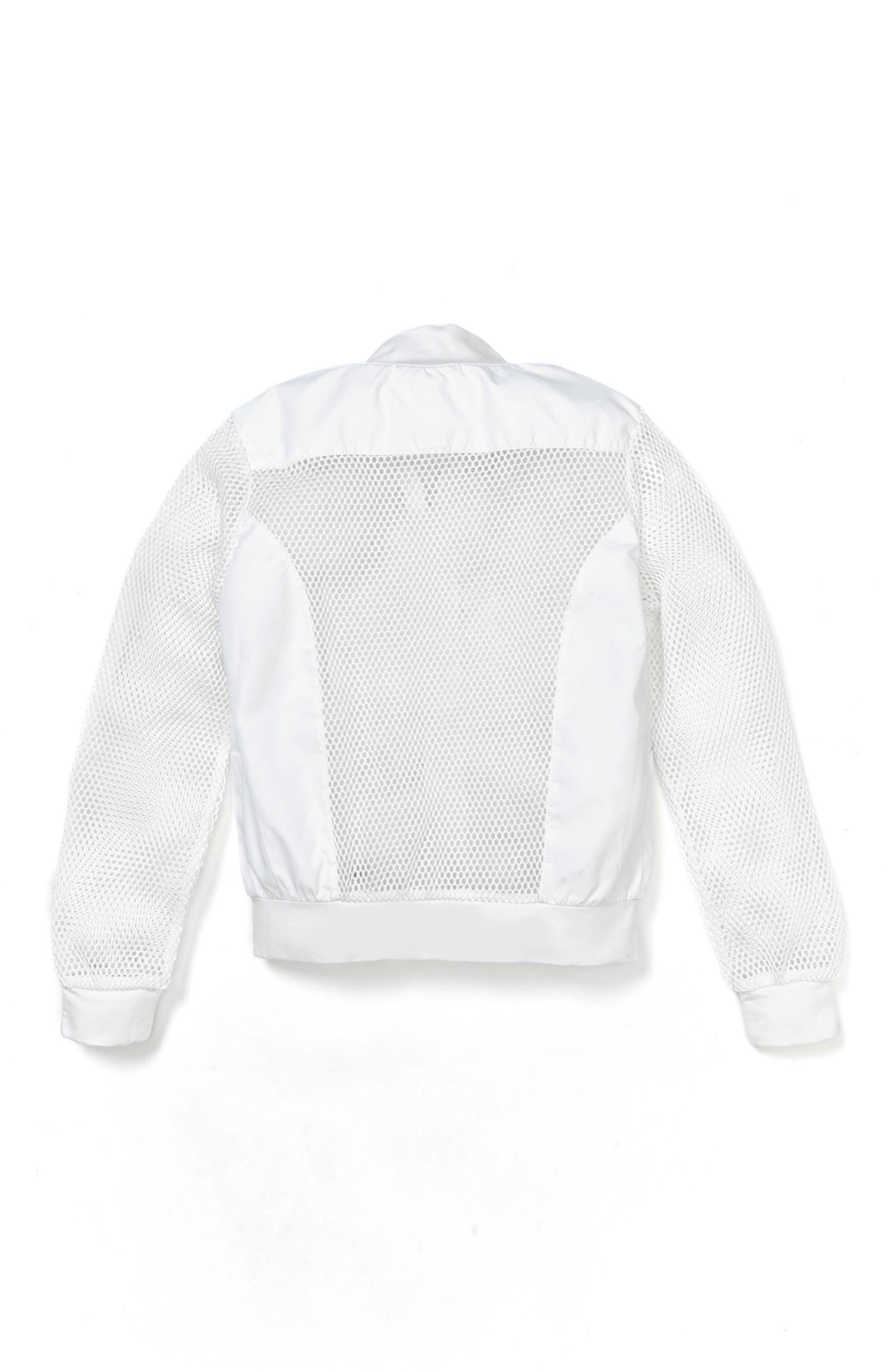 Keya Mesh Bomber Jacket,                             Alternate thumbnail 2, color,                             White