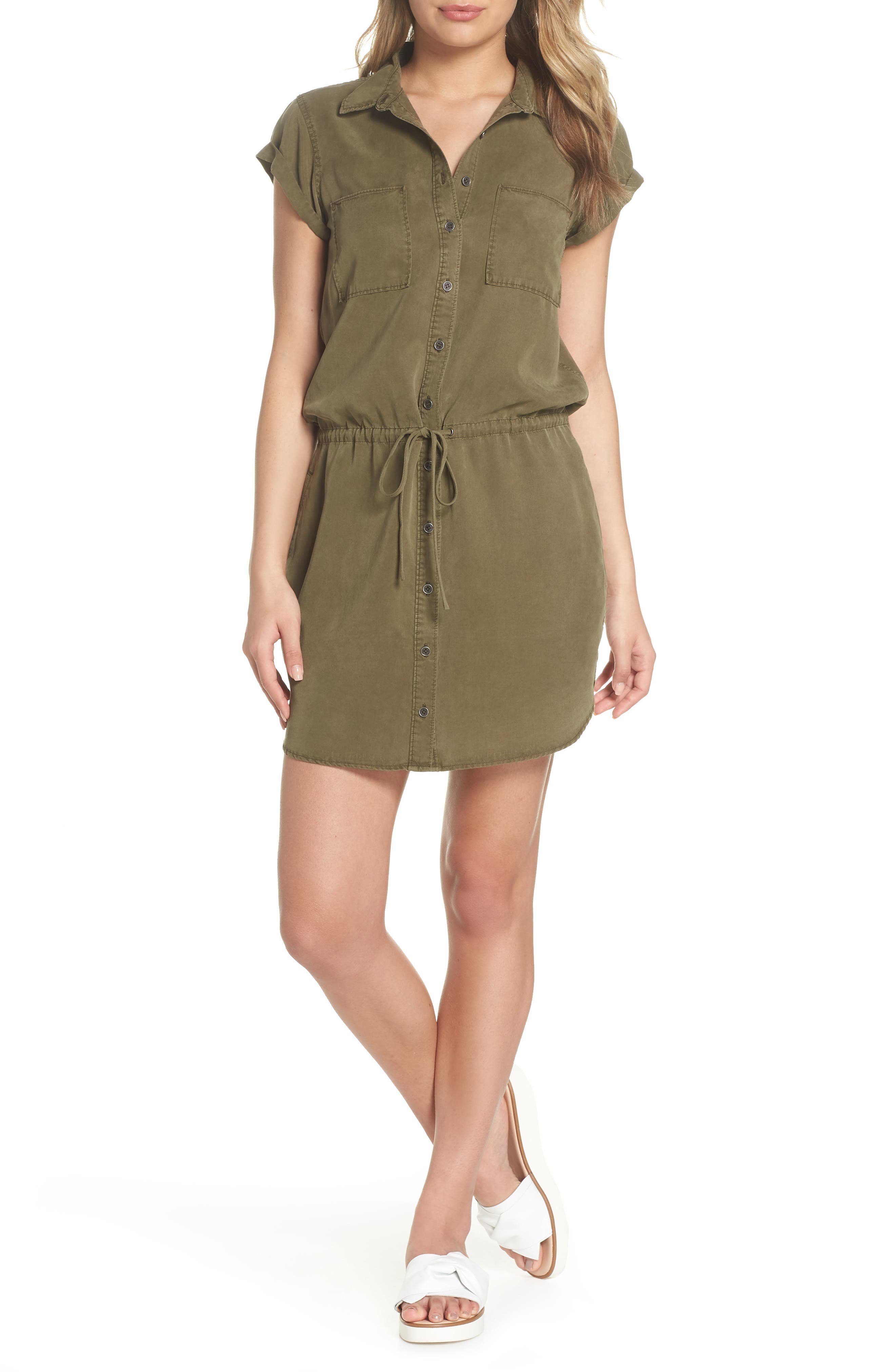 Mila Shirtdress,                         Main,                         color, Desert Olive