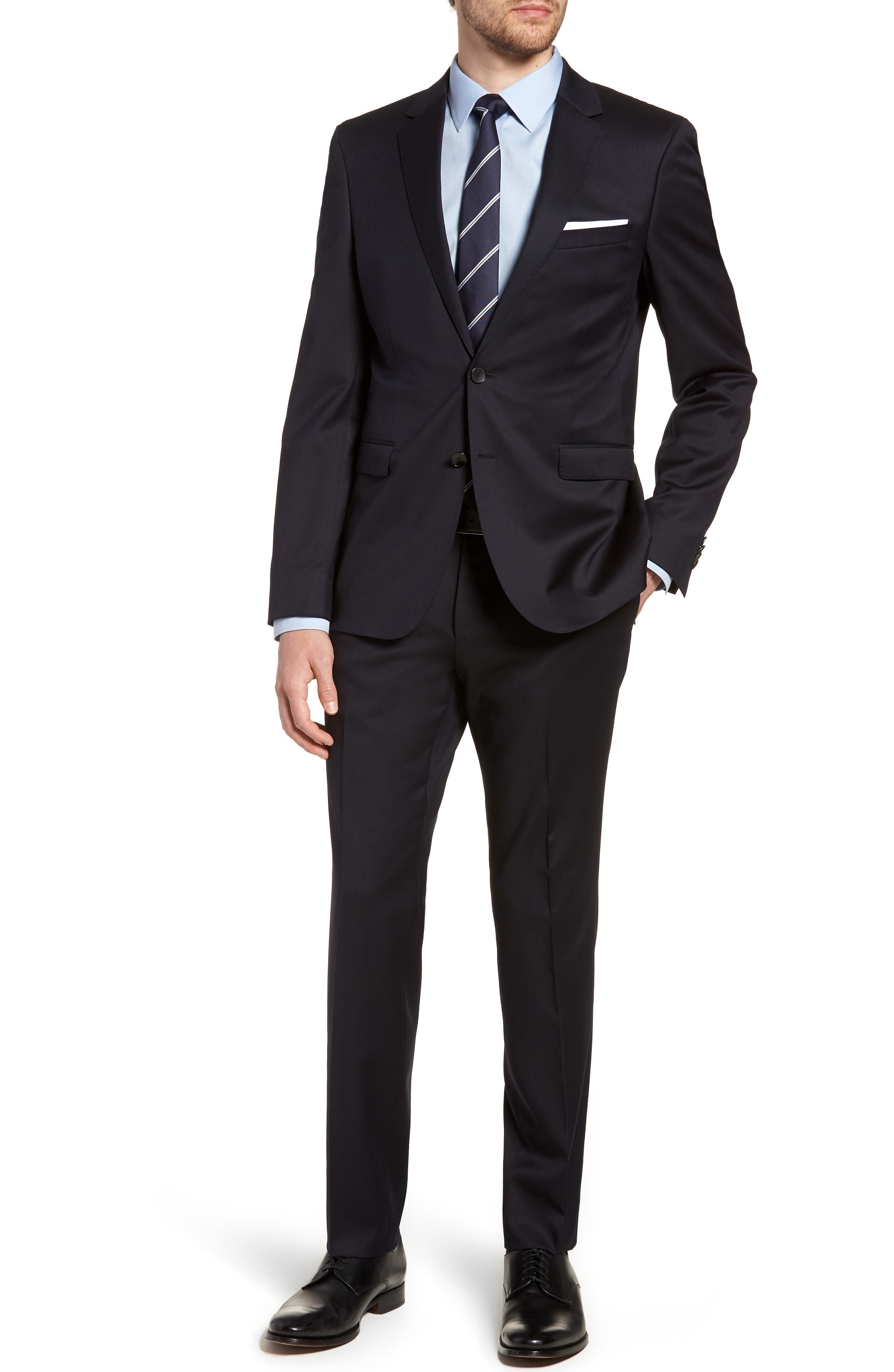 Ryan/Win Extra Trim Fit Solid Wool Suit,                         Main,                         color, Dark Blue