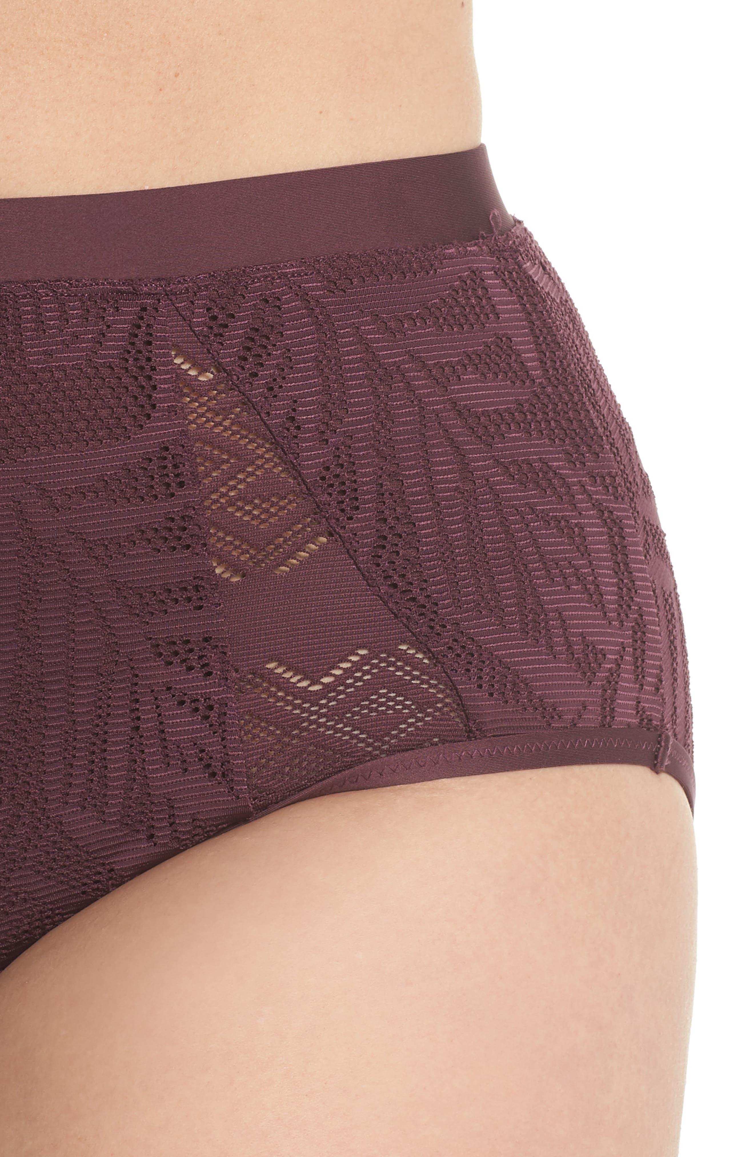 Crochet Inset High Waist Bikini Bottoms,                             Alternate thumbnail 4, color,                             Wine