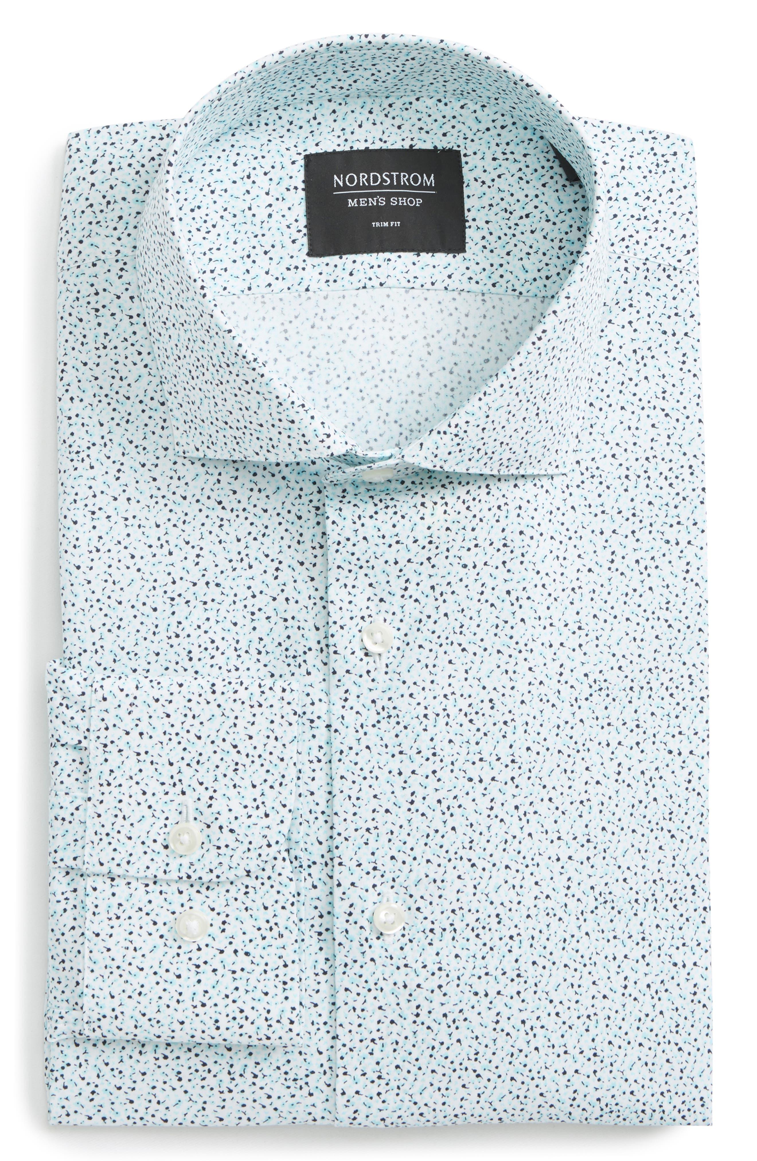 Trim Fit Floral Dress Shirt,                             Alternate thumbnail 6, color,                             Teal Bermuda