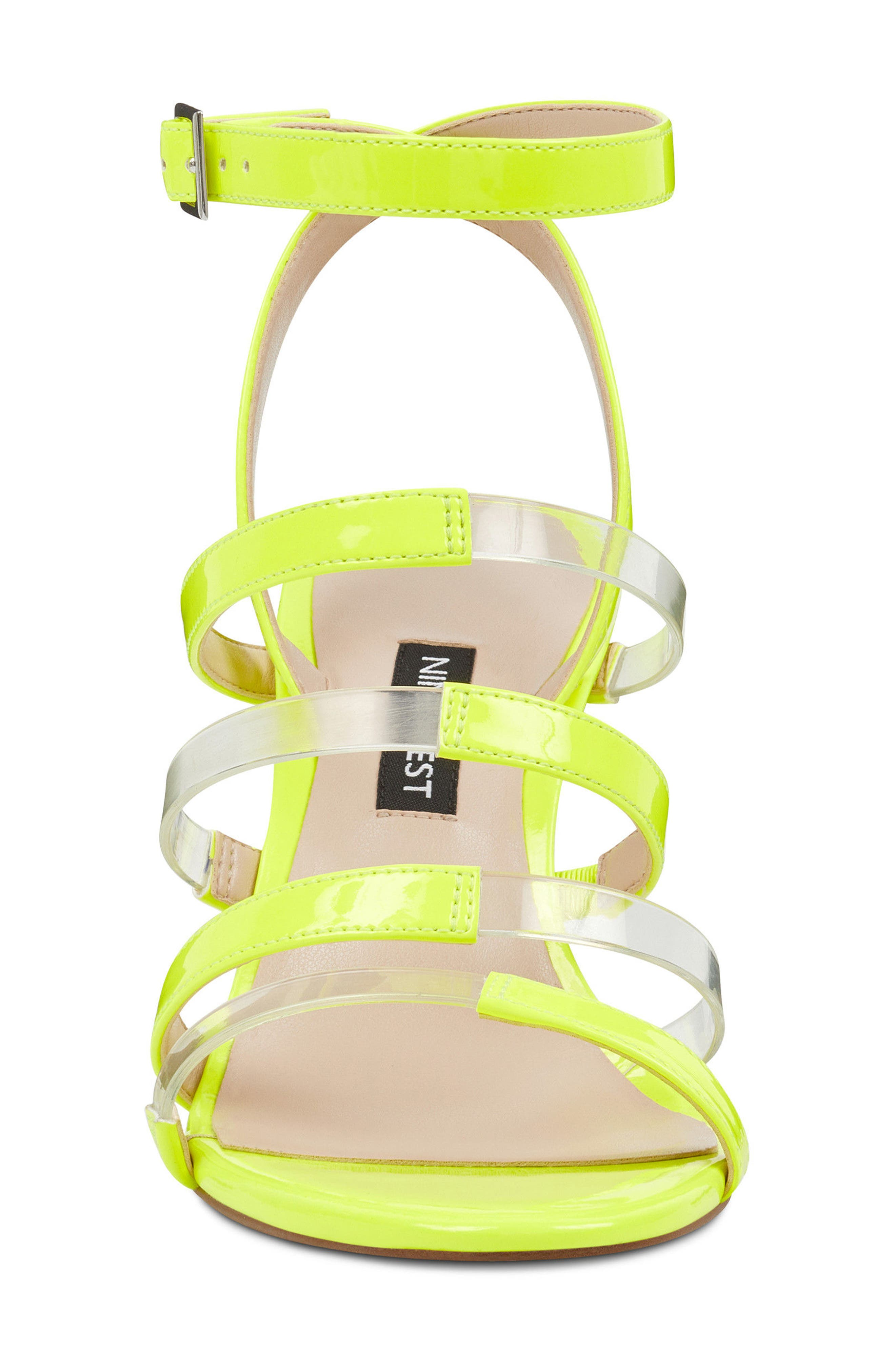 Fazzani Cage Sandal,                             Alternate thumbnail 4, color,                             Clear/ Yellow Faux Leather