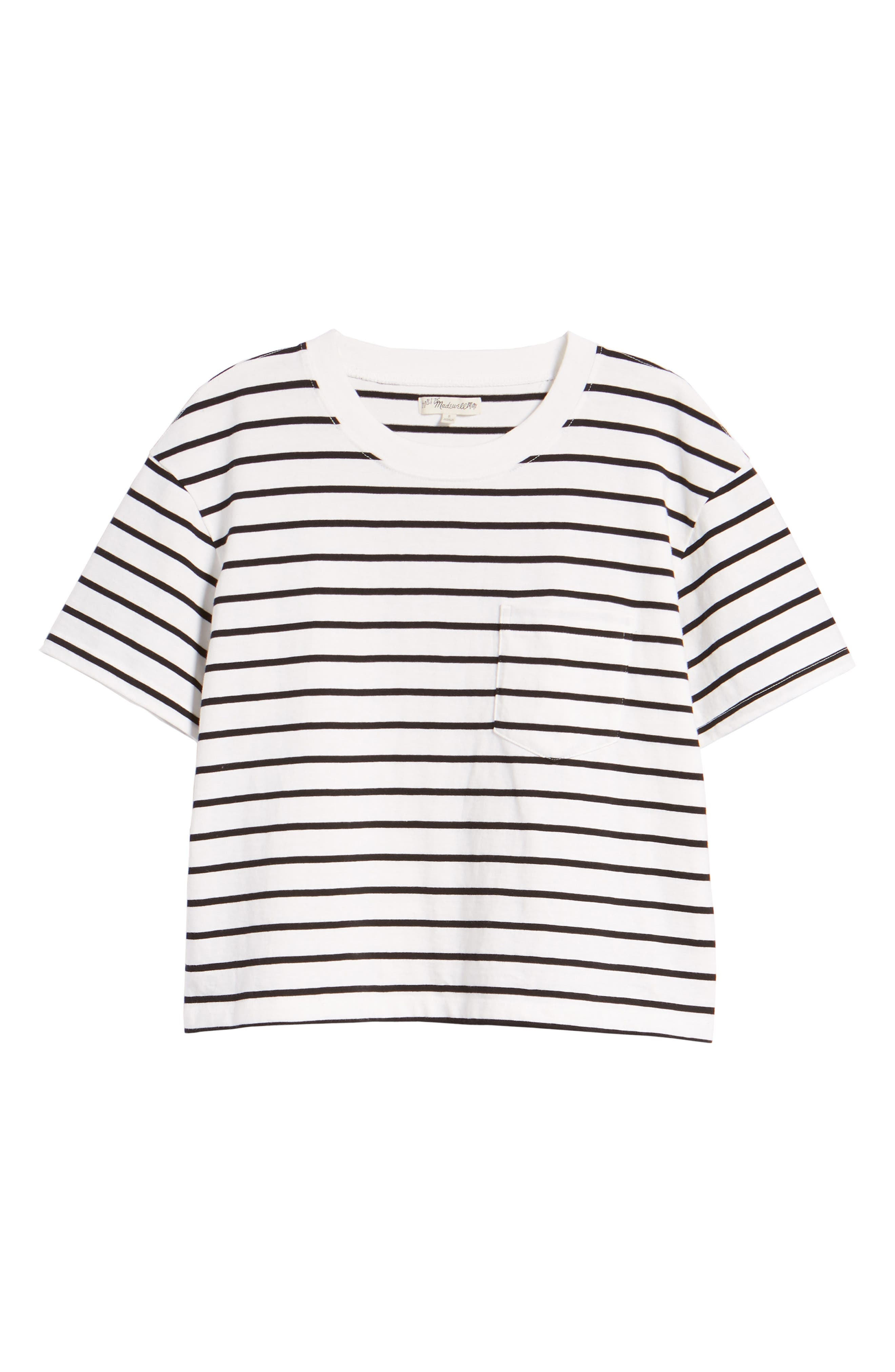 Stripe Easy Crop Tee,                             Alternate thumbnail 7, color,                             Bright Ivory