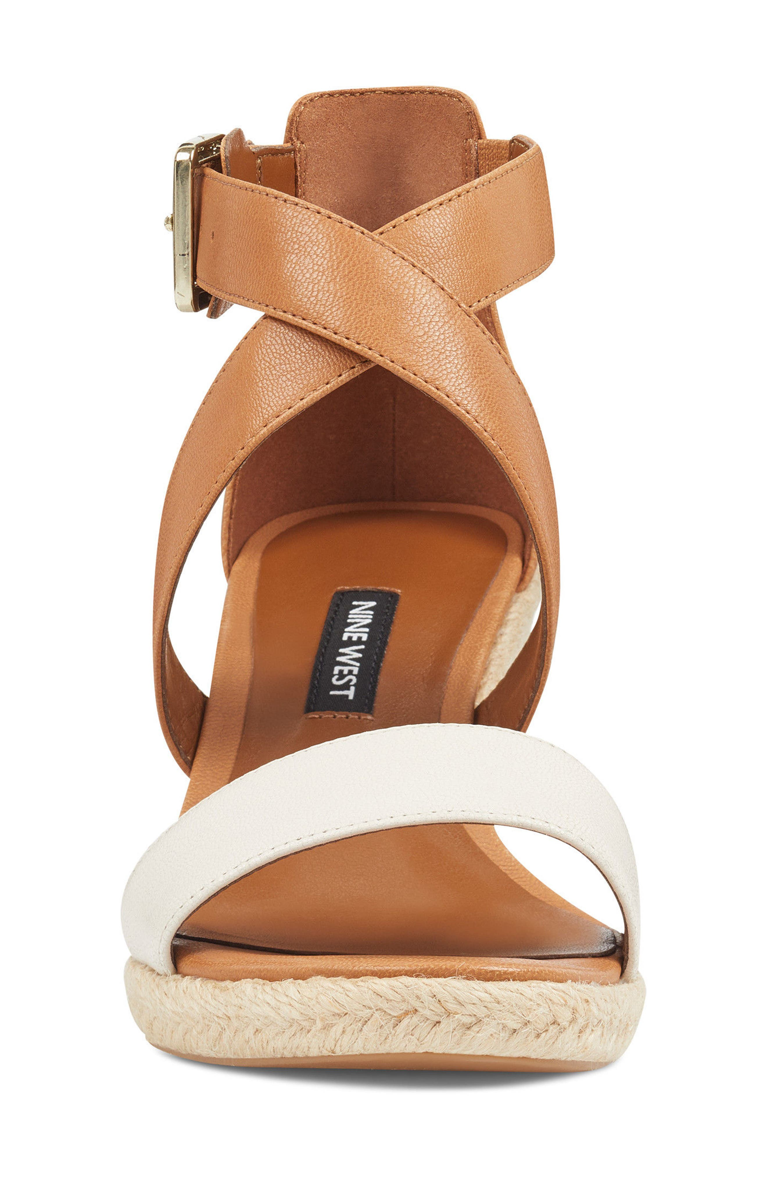 Jorjapeach Espadrille Wedge Sandal,                             Alternate thumbnail 4, color,                             White Leather