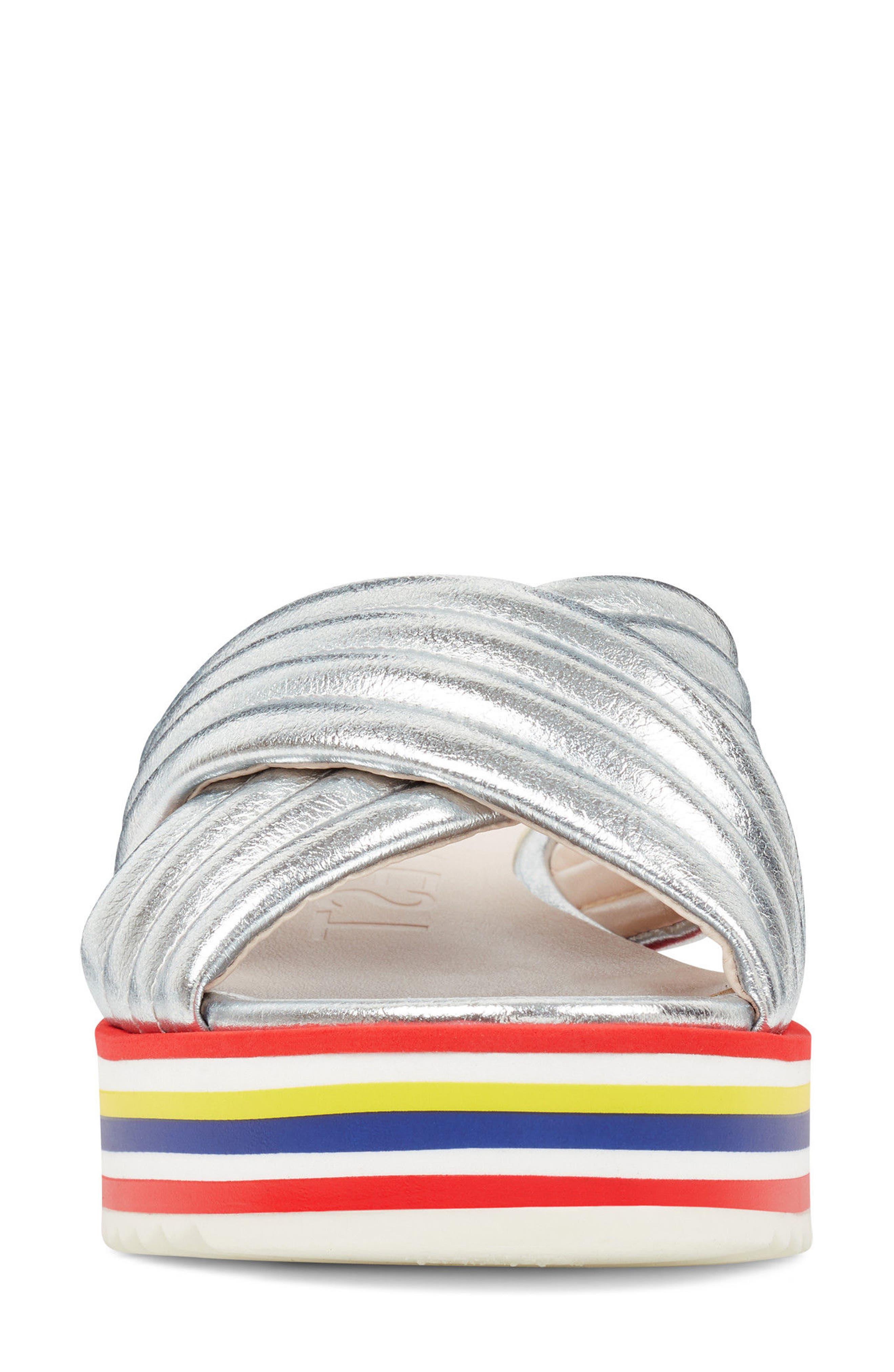 Zonita Platform Slide Sandal,                             Alternate thumbnail 4, color,                             Silver Faux Leather