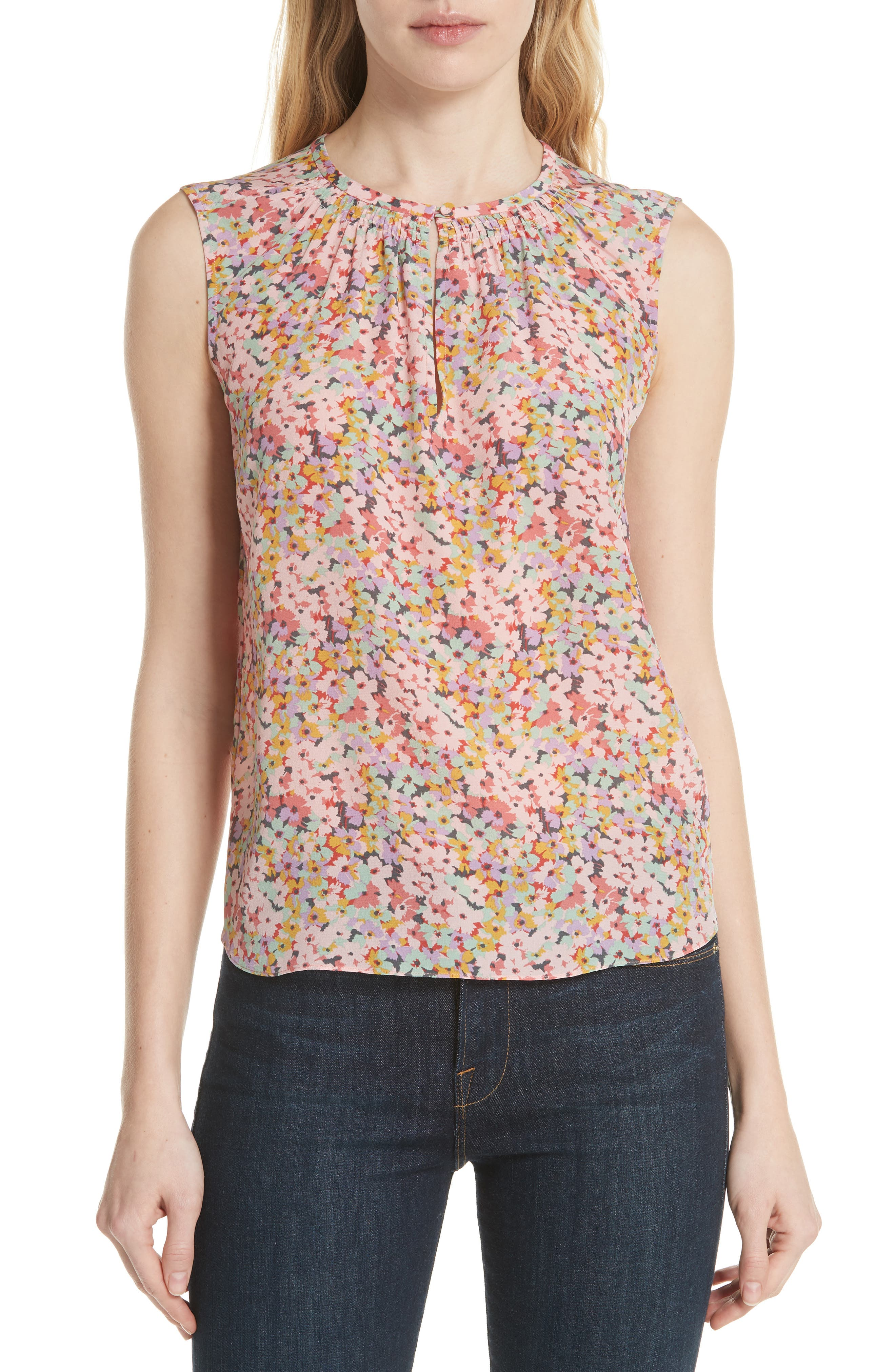 Margo Floral Sleeveless Silk Top,                             Main thumbnail 1, color,                             Multi