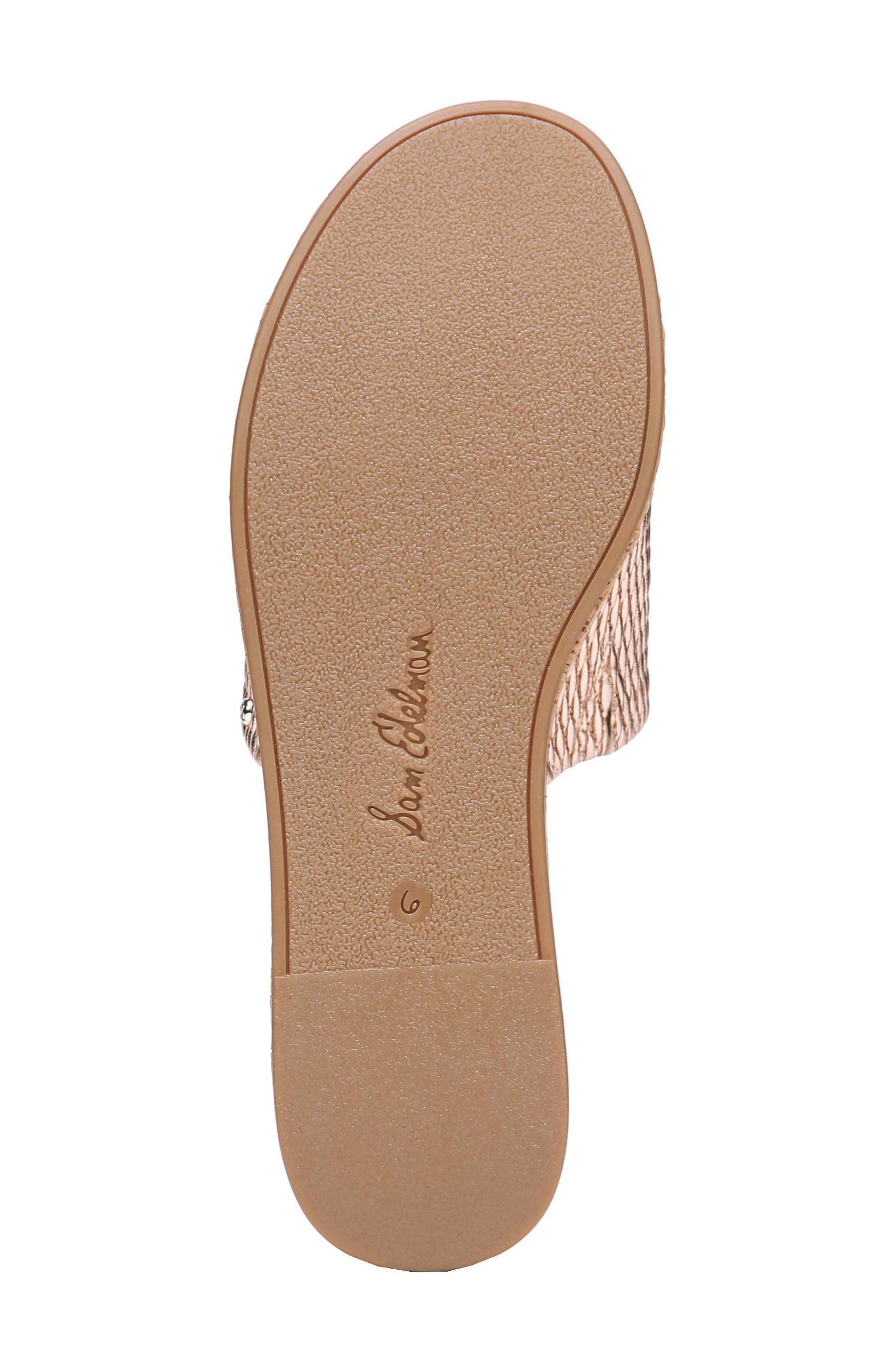 Wendi Platform Slide Sandal,                             Alternate thumbnail 7, color,                             Blush Gold Metallic Fabric